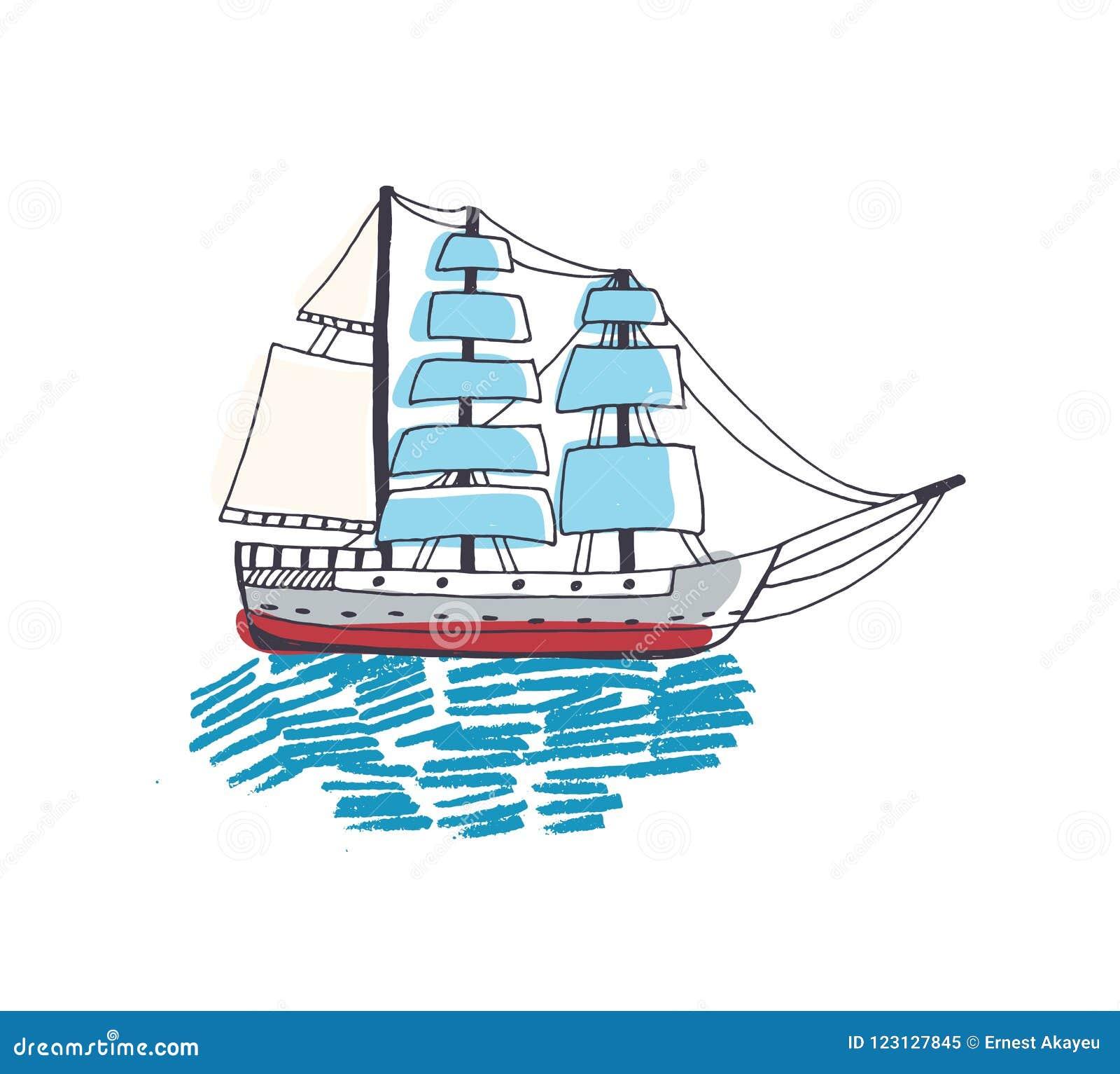 Dessin De Bateau De Bateau A Voile De Fregate Ou De Caravelle Magnifique Avec La Voile Dans L Ocean Beau Voilier Dans Le Voyage Illustration De Vecteur Illustration Du Magnifique Fregate 123127845