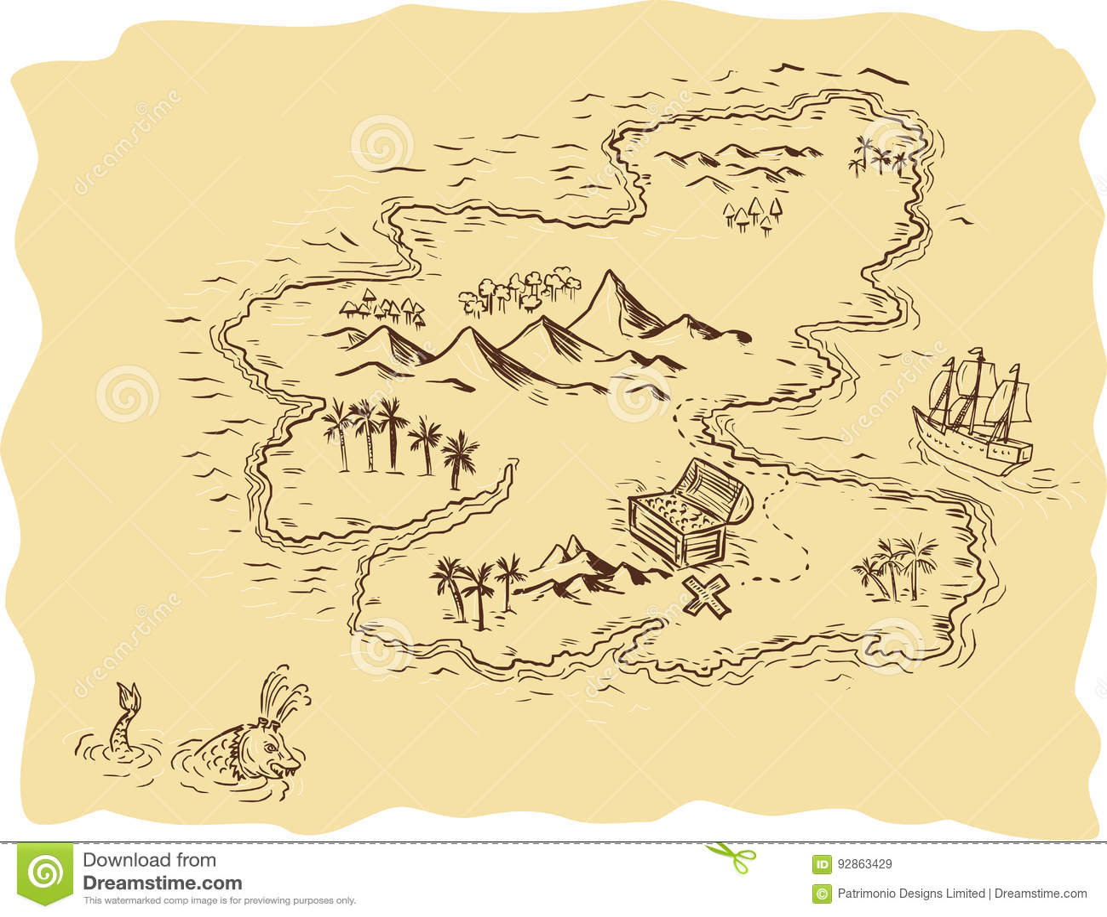 Dessin de bateau de navigation de carte de tr sor de - Dessin de coffre de pirate ...