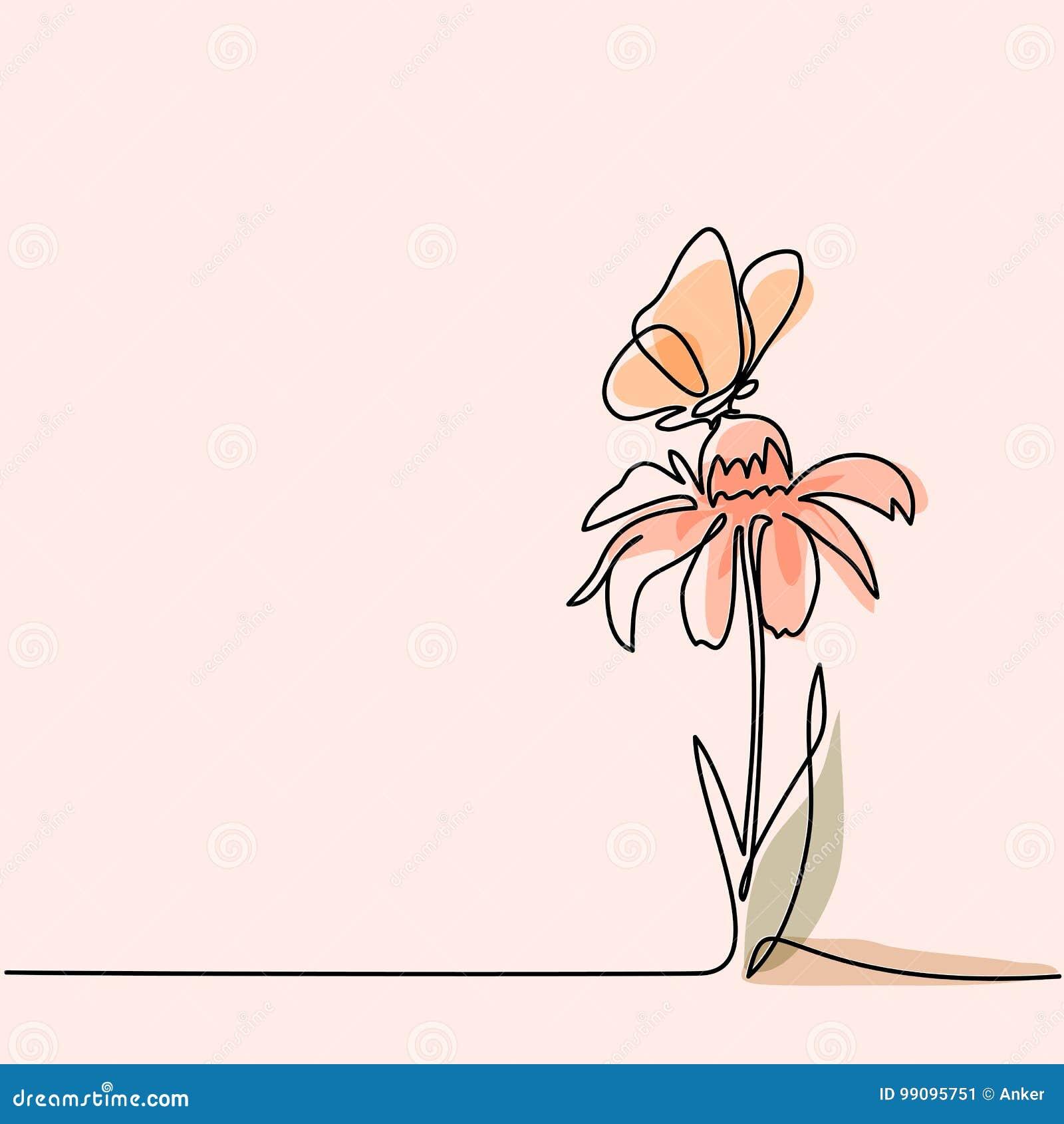 Dessin De Belle Fleur Avec Le Papillon Illustration De Vecteur