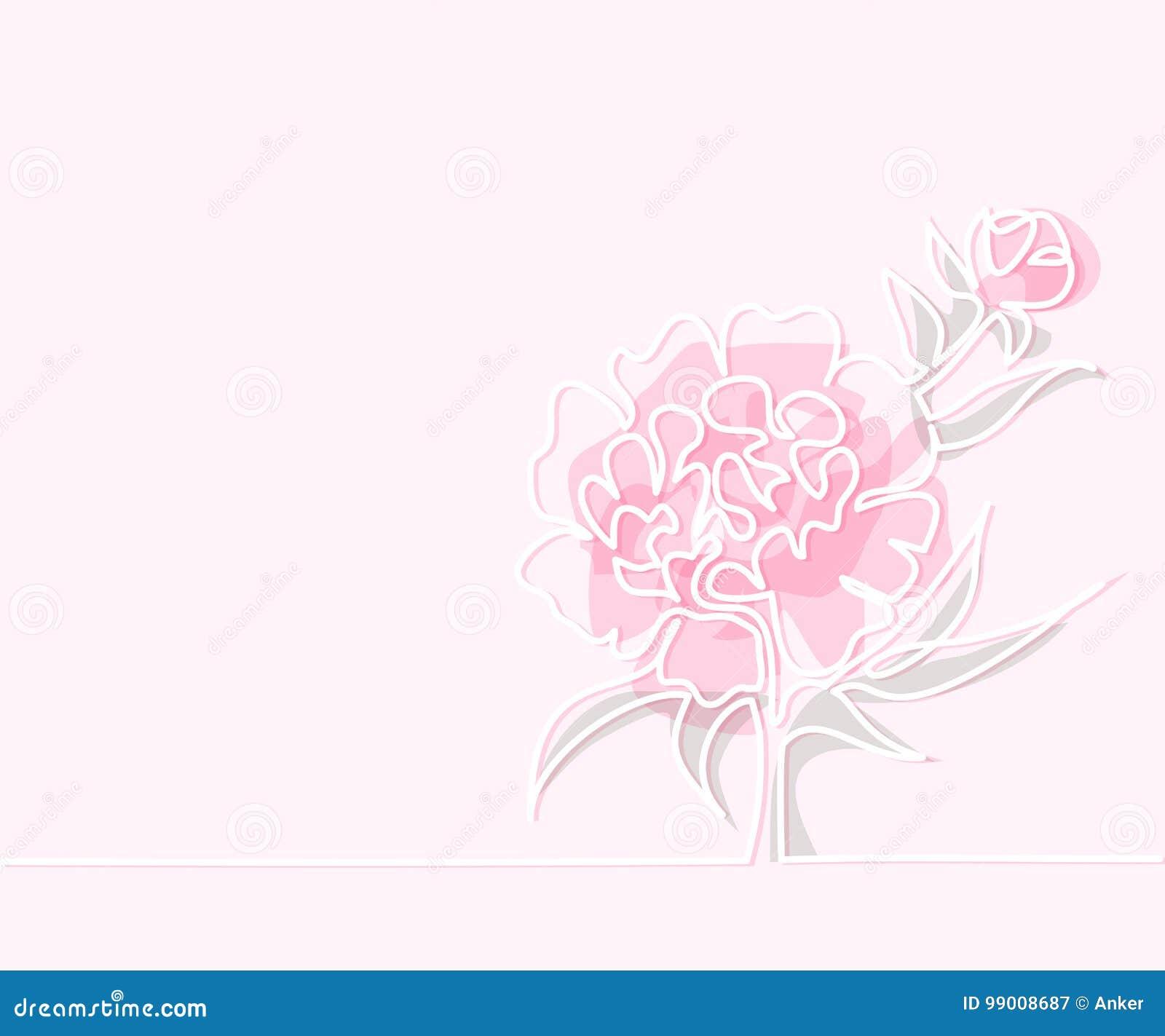 Dessin De Belle Fleur De Pivoine Illustration De Vecteur