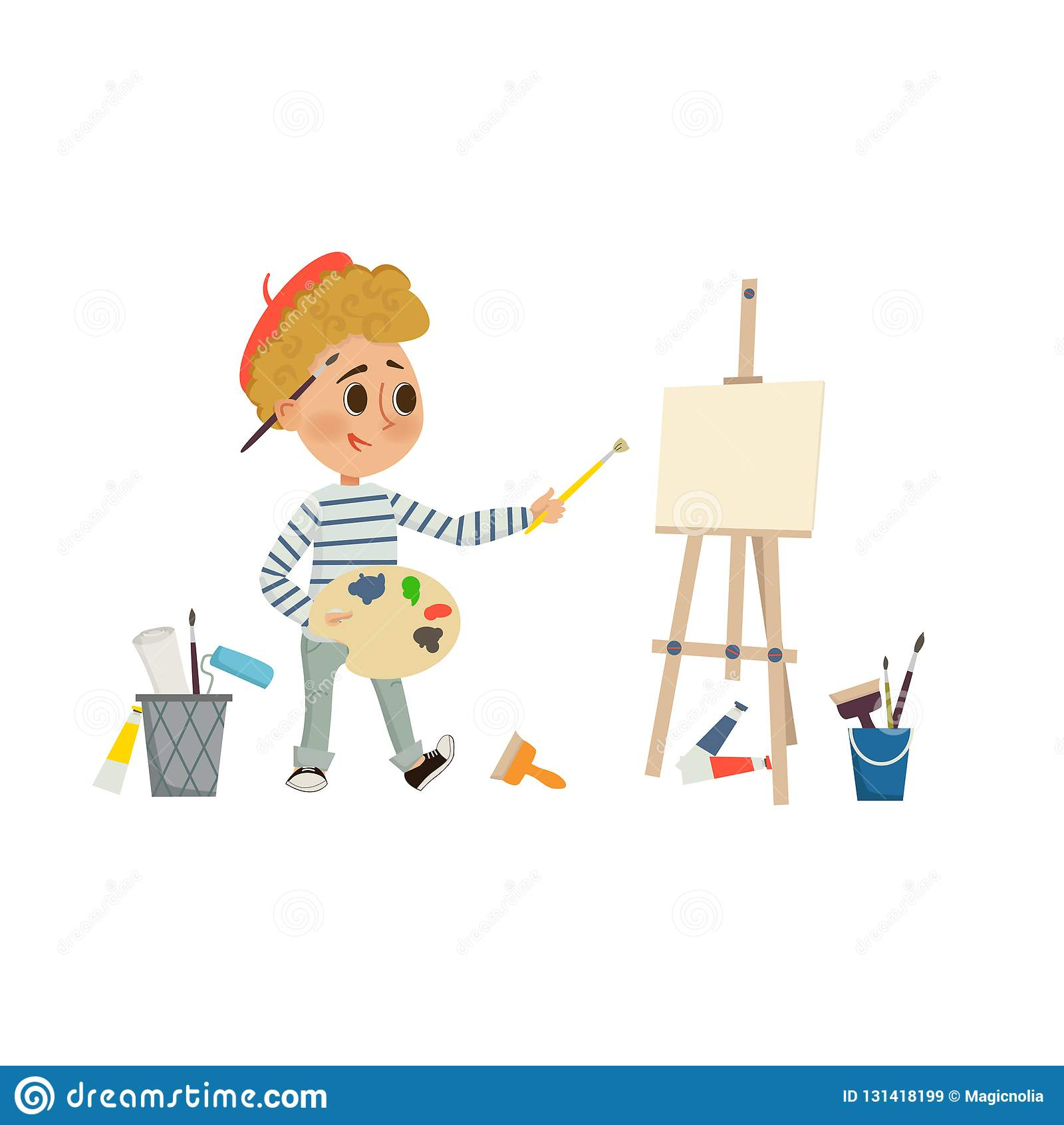 Dessin De Boy Dartiste Et Image De Peinture Avec La Brosse