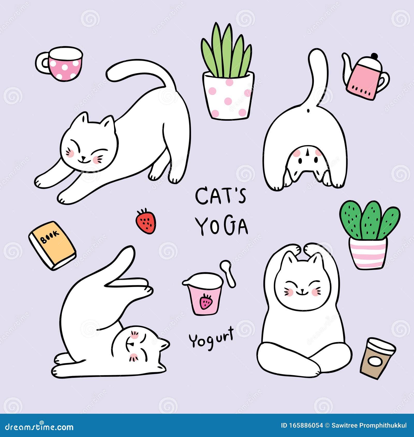 Dessin De Caricature Chatte A Doodles Yoga Relaxation Illustration De Vecteur Illustration Du Yoga Relaxation 165886054