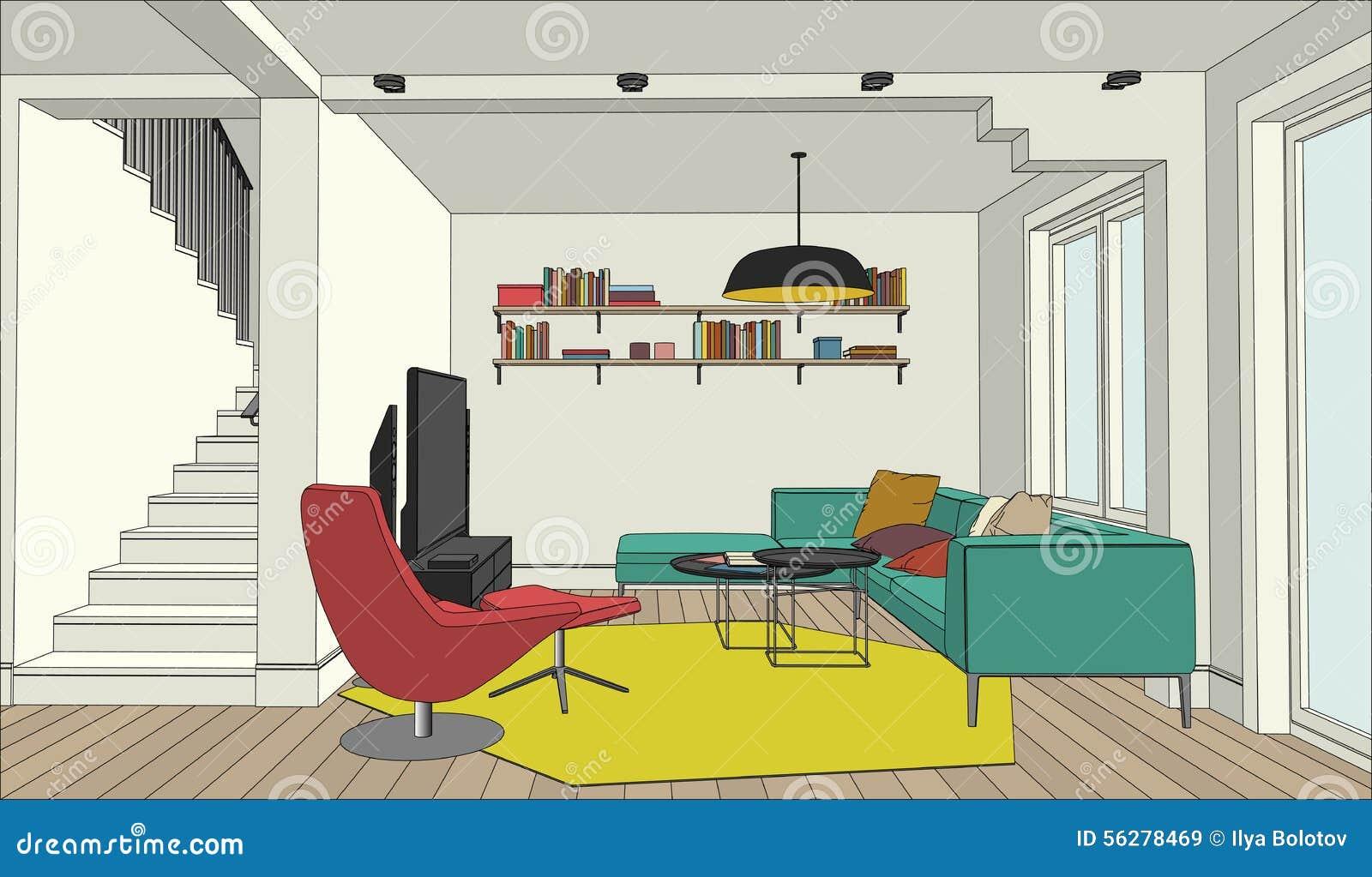 Dessin de couleur de l 39 int rieur illustration de vecteur for Dessin de construction du meuble