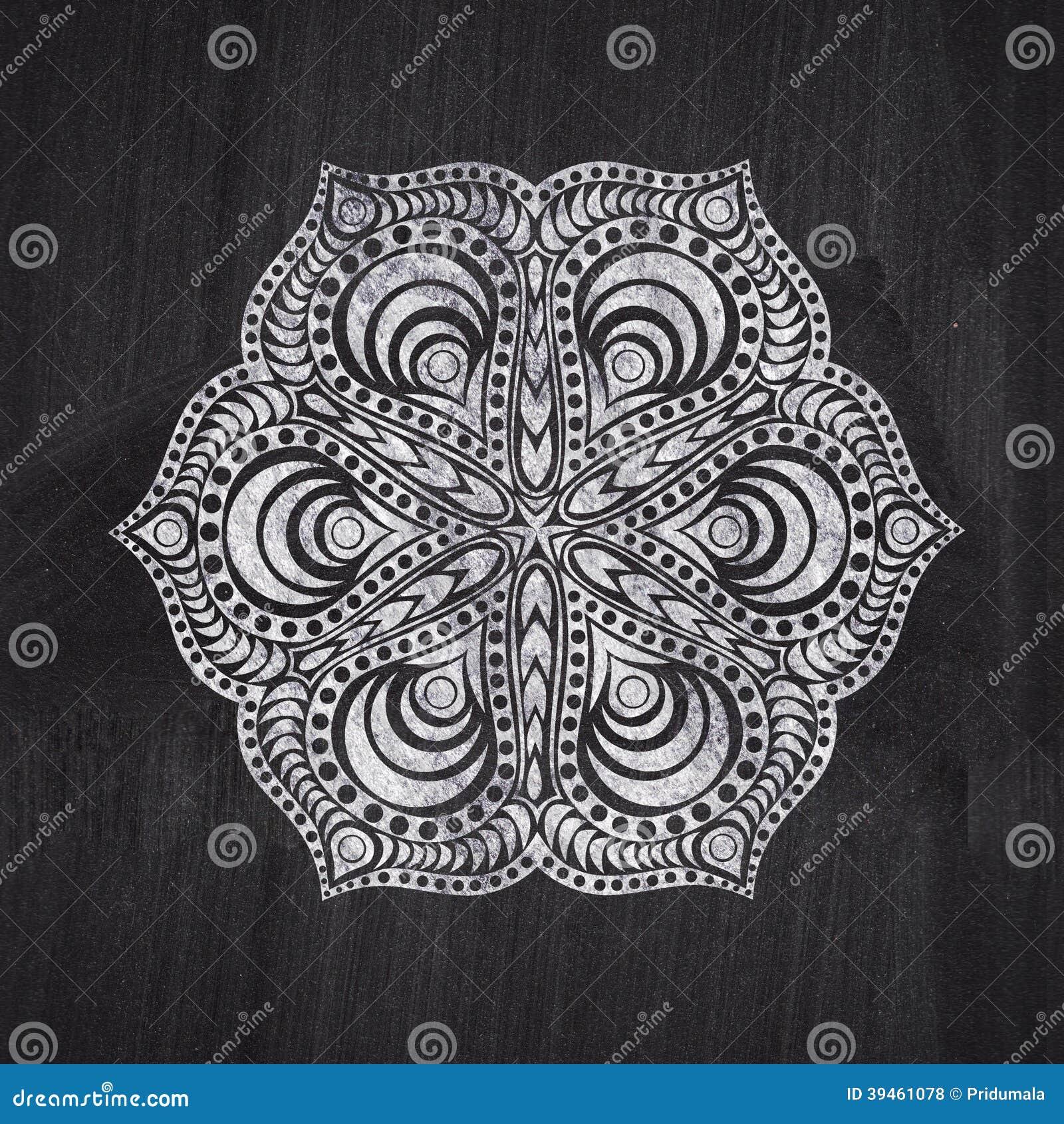 Dessin de craie de fleur sur le tableau noir de tableau for Blanco tiza pintura
