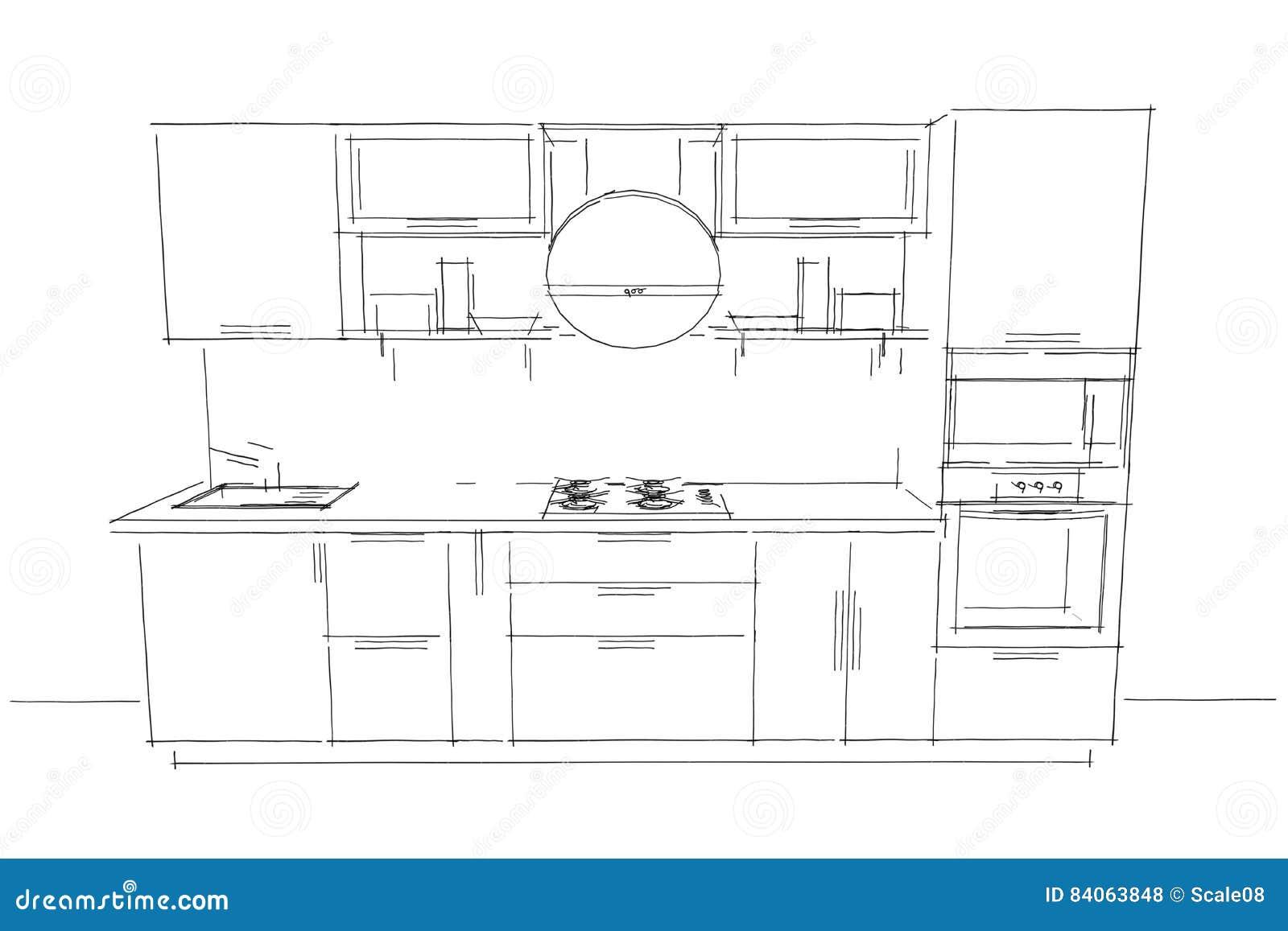 Dessin De Croquis D Interieur Moderne De La Cuisine 3d Avec Le