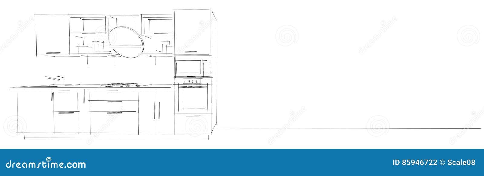 Dessin De Croquis Dintérieur Moderne De La Cuisine 3d Avec