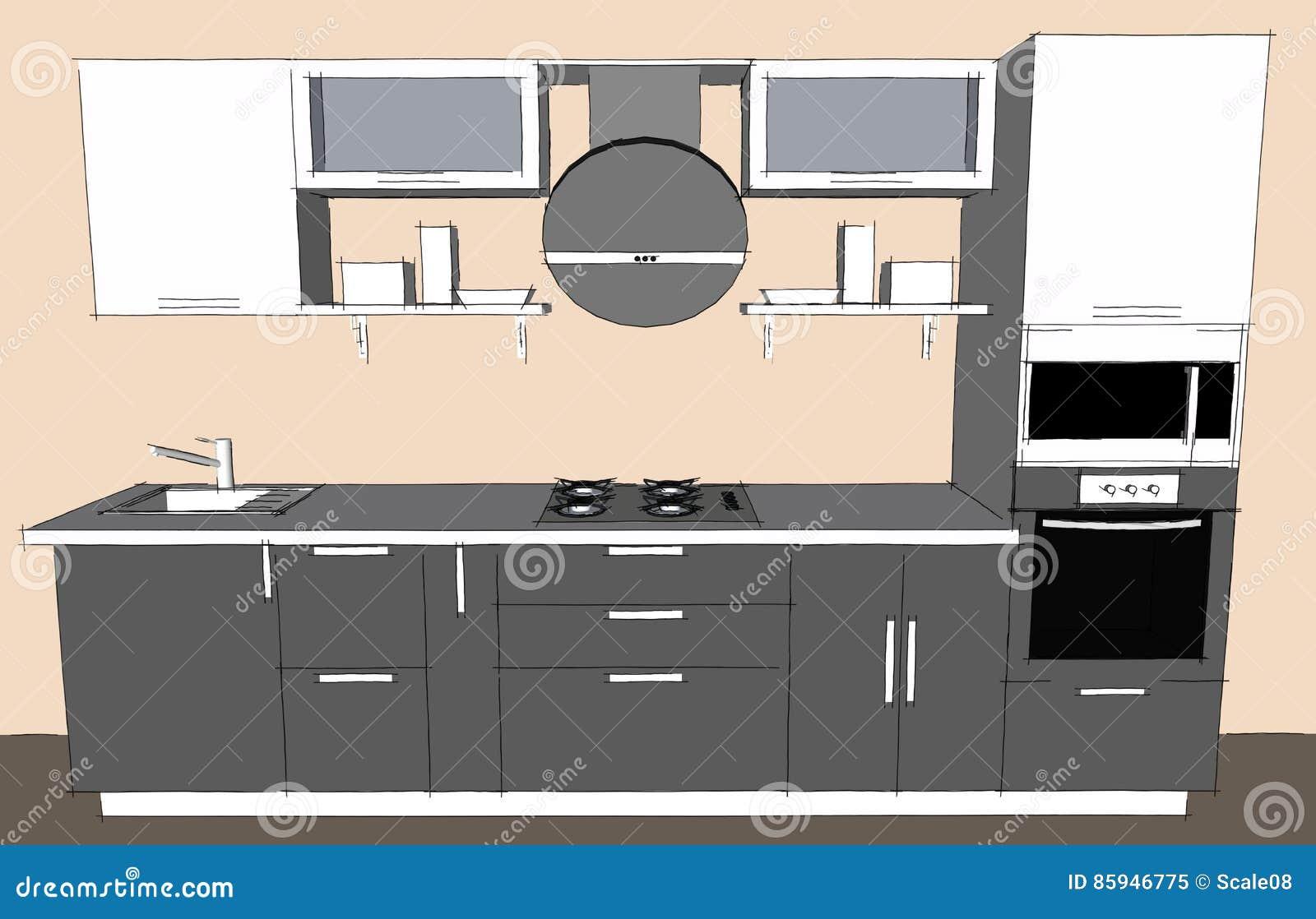 Dessin de croquis d 39 int rieur moderne gris de la cuisine for Cuisine 3d dessin
