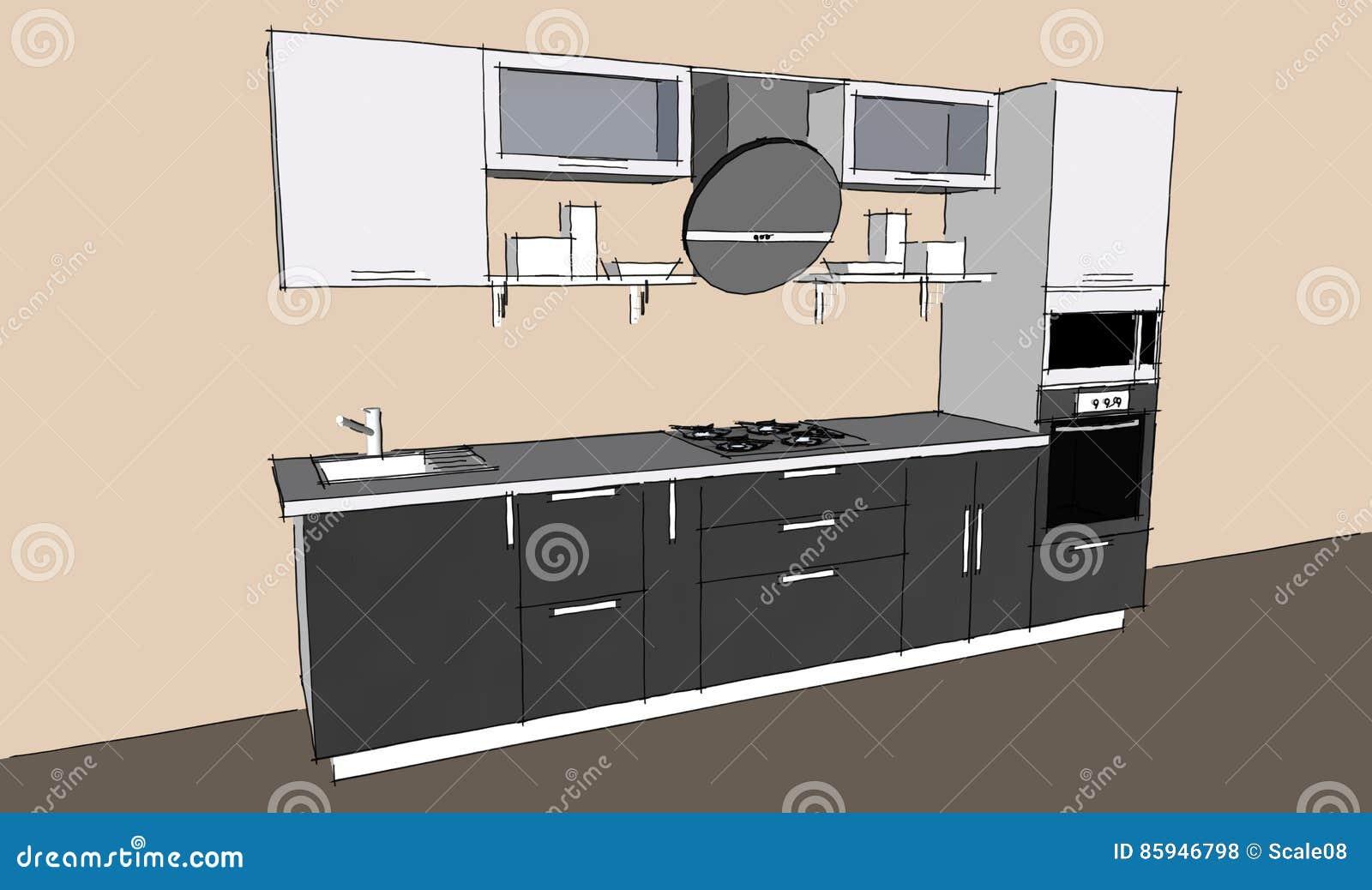 Dessin de croquis d 39 int rieur moderne gris de la cuisine 3d avec les portes rondes de capot et - Dessin cuisine 3d ...