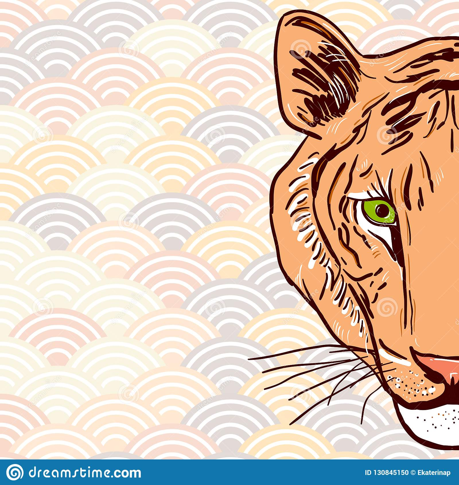Dessin De Croquis De Tete De Tigre Dans Les Elements Ronds