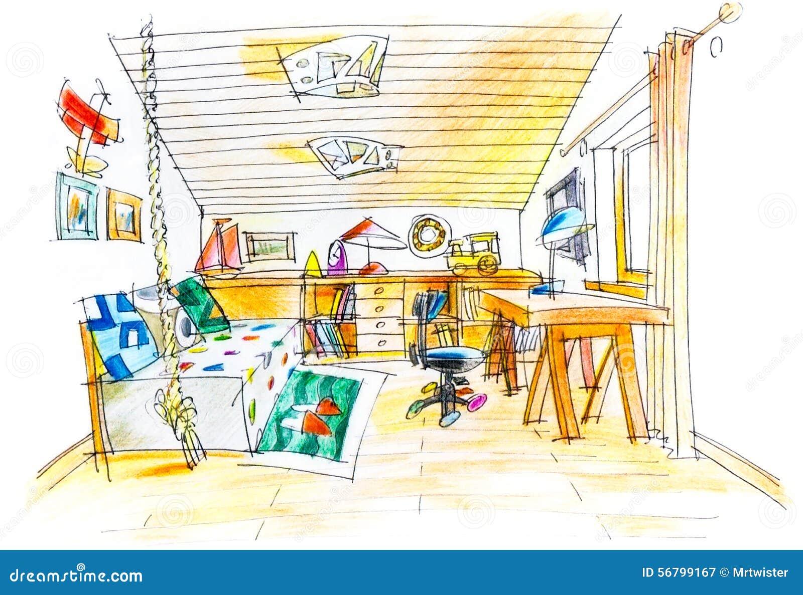 Dessin Avec La Main dessin de dessin à main levée d'une salle d'enfants