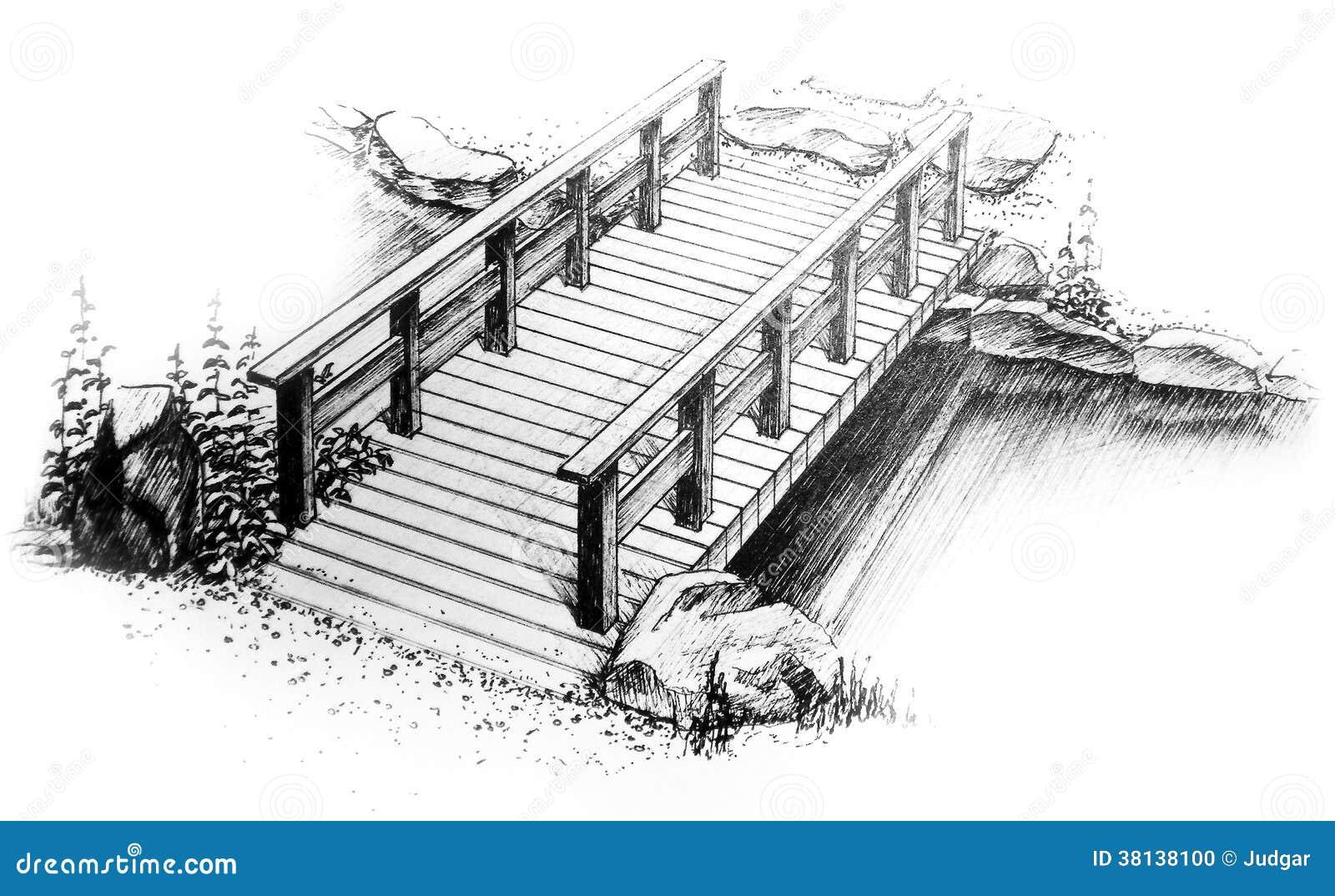 Dessin de dessin main lev e graphique de pont en bois for Disegni di ponte anteriore