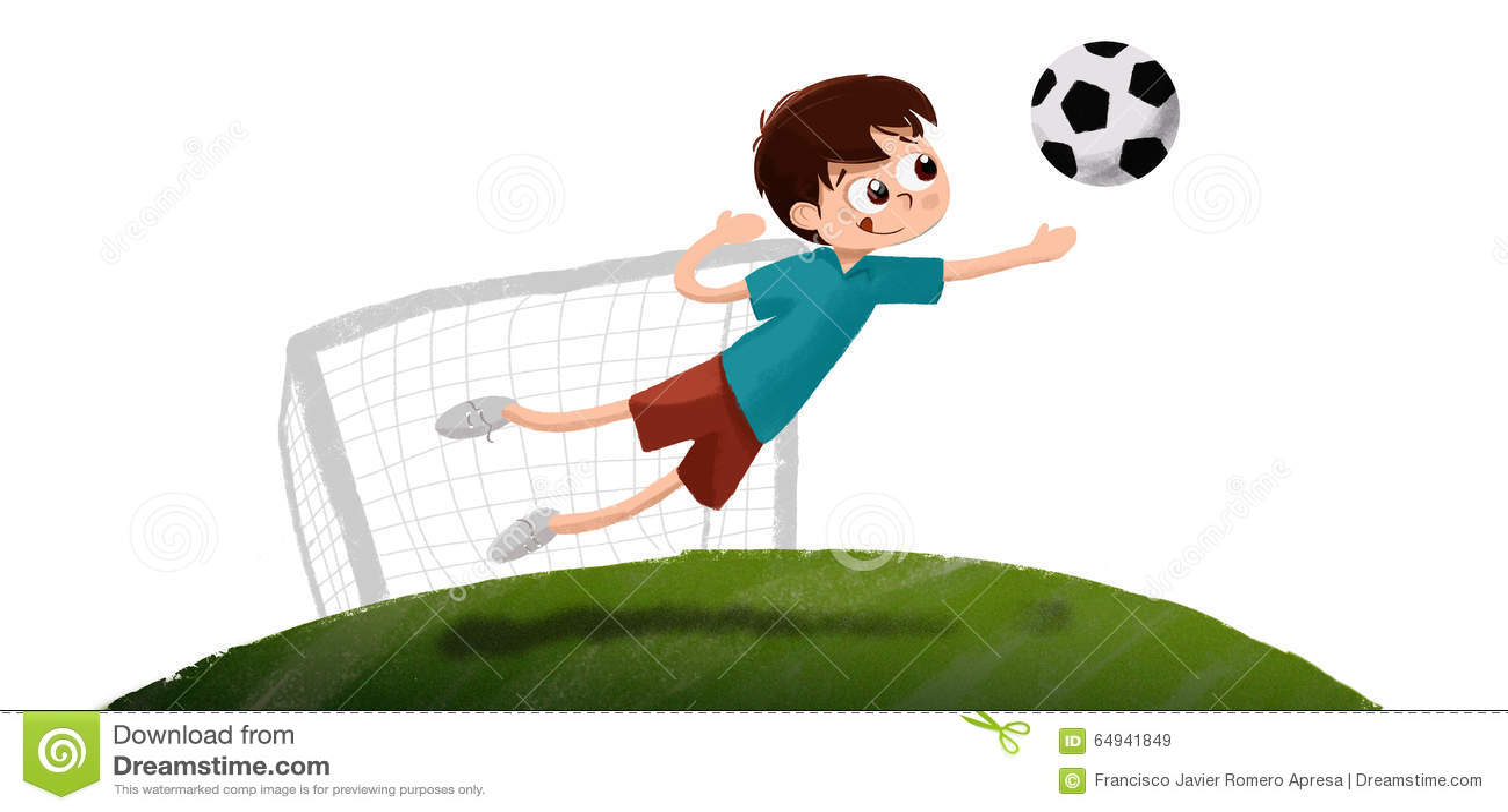 Dessin de gar on jouant le gardien de but du football - Dessin gardien de but ...