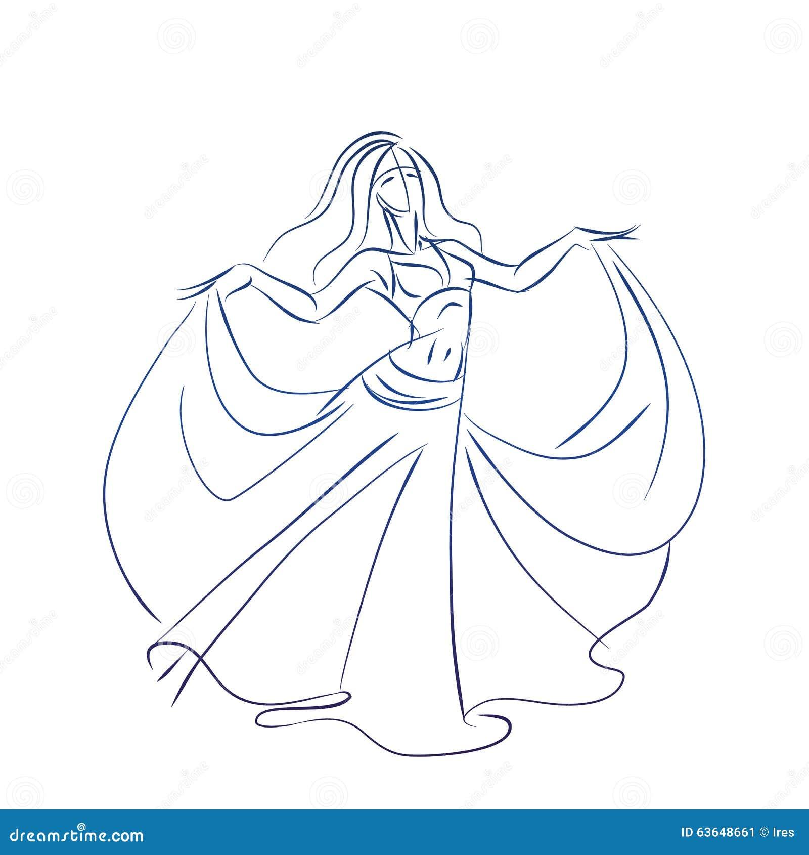 Dessin de geste de croquis d 39 encre de danseuse du ventre - Danseuse orientale dessin ...