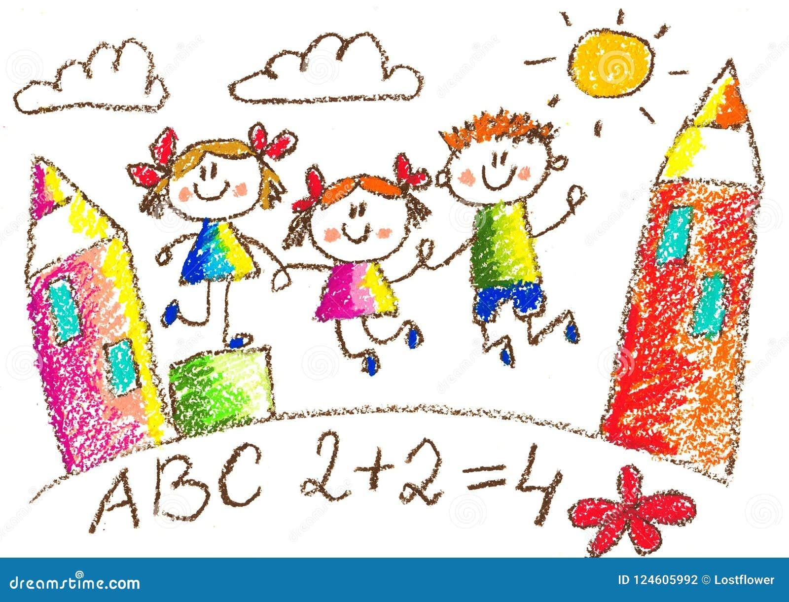 Dessin De Gosses Kindergarten Ecole Enfants Heureux A La Cour De Jeu Illustration De Crayon Illustration Stock Illustration Du Heureux Kindergarten 124605992