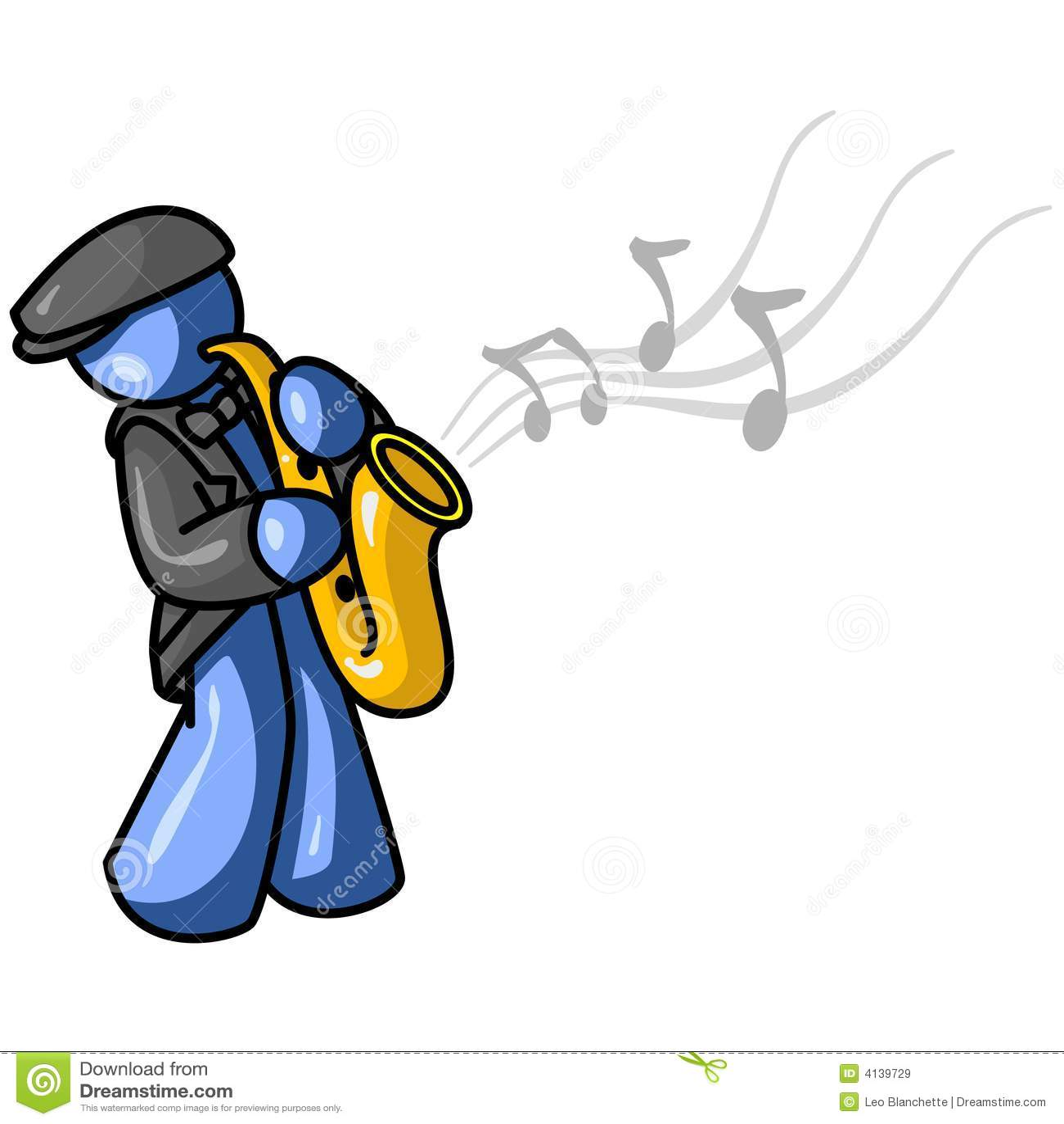 Dessin de joueur de saxophone illustration de vecteur - Dessin saxophone ...
