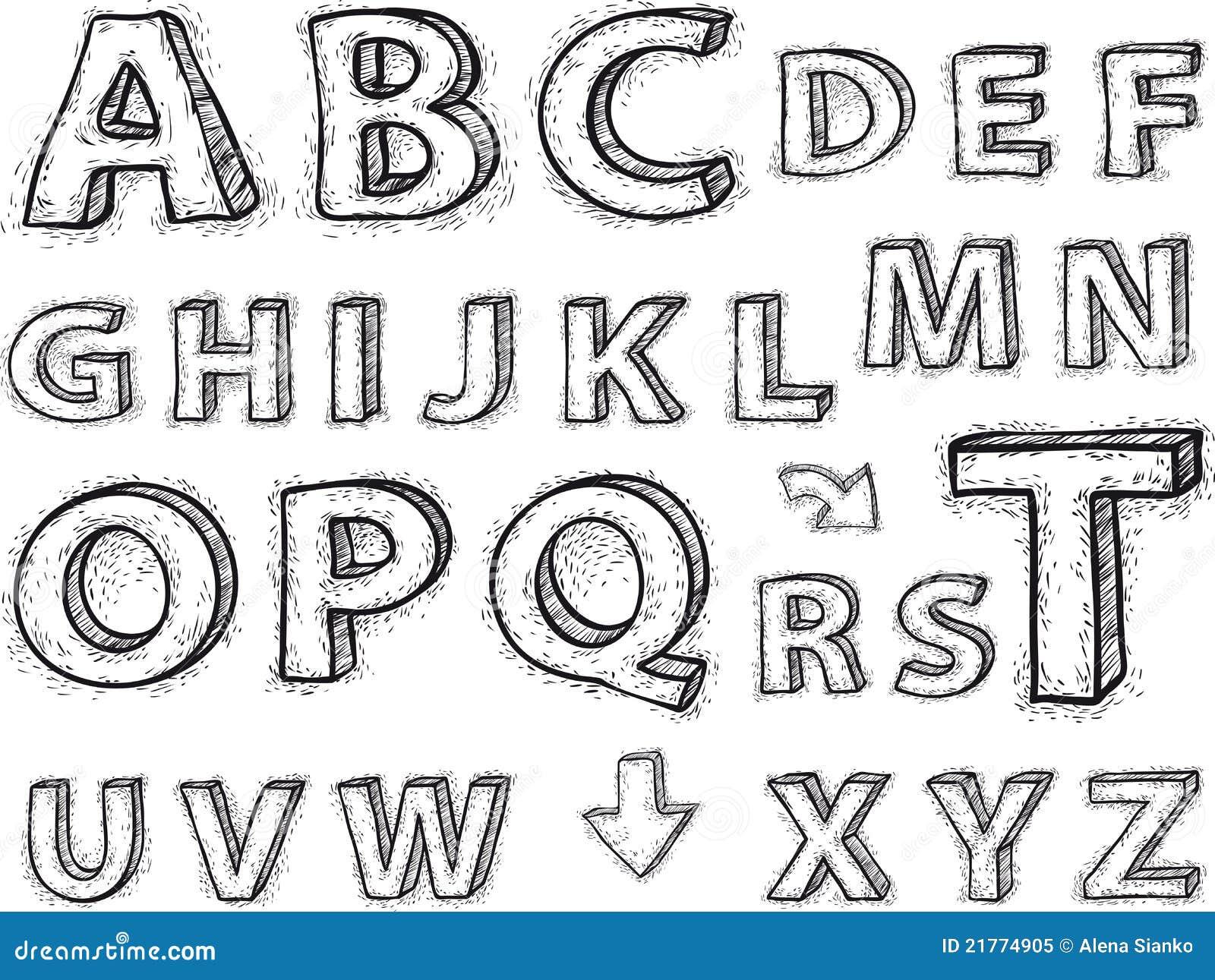 Dessin de l 39 alphabet les lettres ne sont pas fond - Dessin en relief a imprimer ...