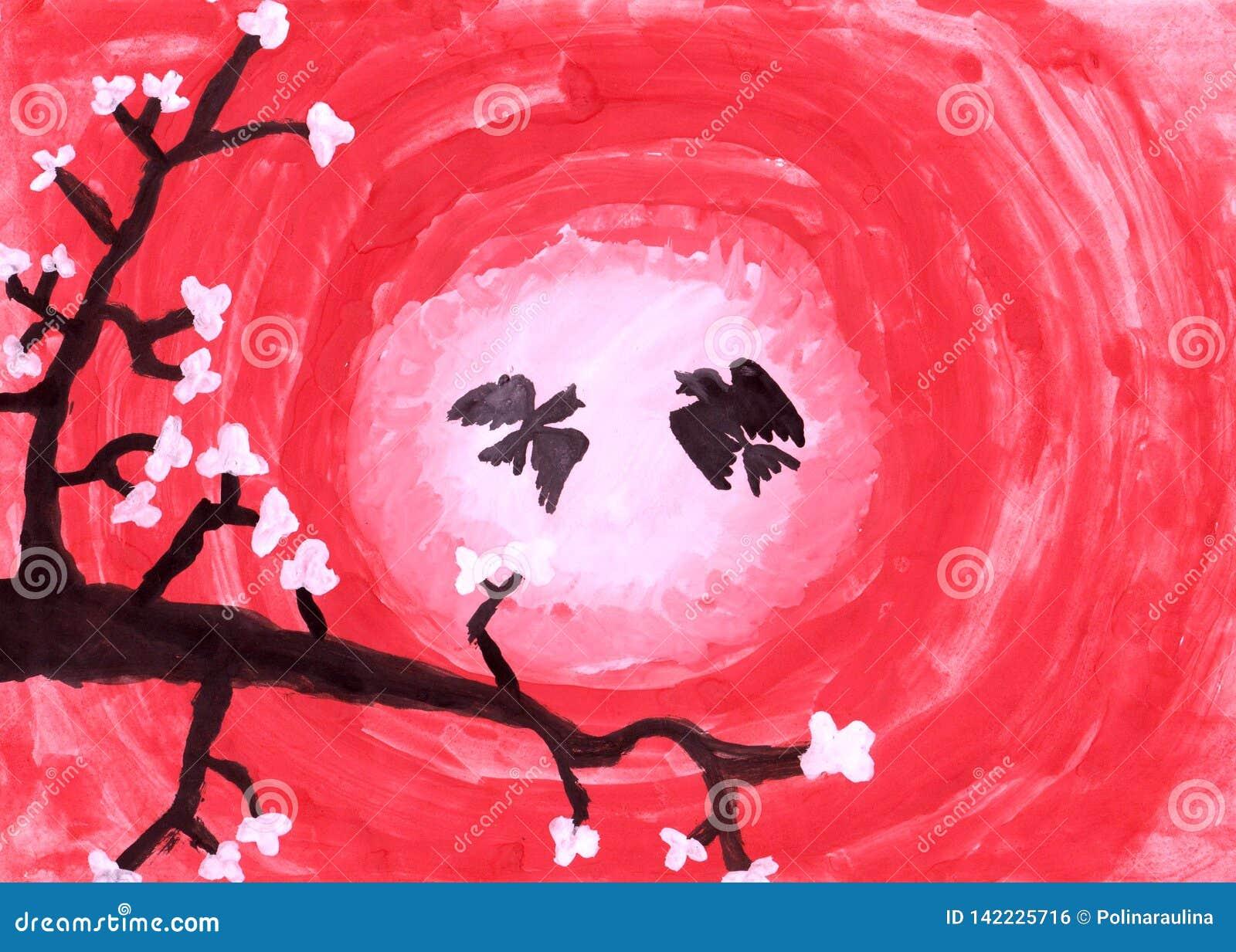 Dessin De L Enfant S Sakura Une Branche Des Fleurs De Cerisier Avec Des Oiseaux Au Coucher Du Soleil Illustration Stock Illustration Du Sakura Enfant 142225716