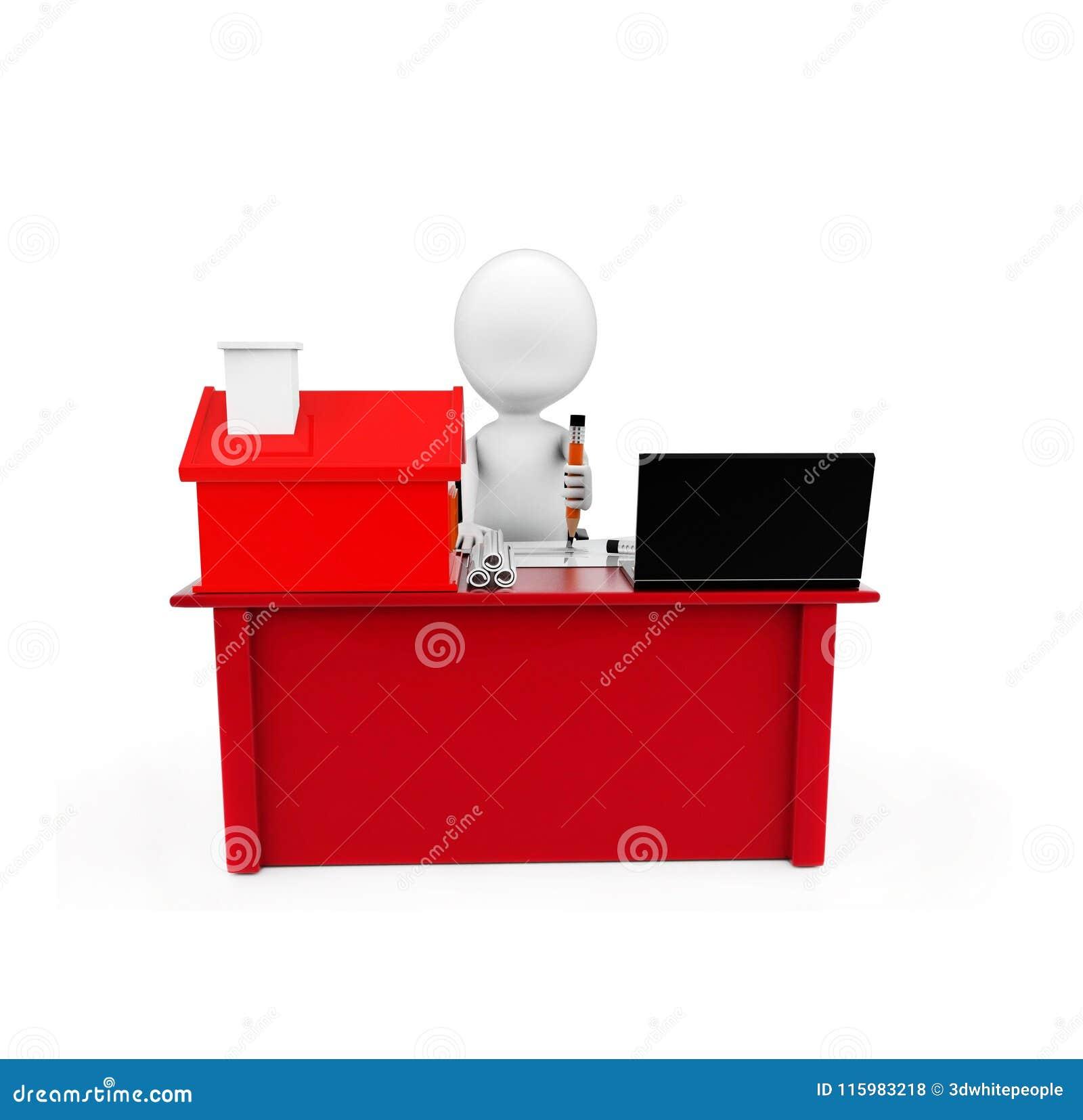 Dessin de l homme 3d sur le papier sur un bureau avec le petit modèle de la maison et