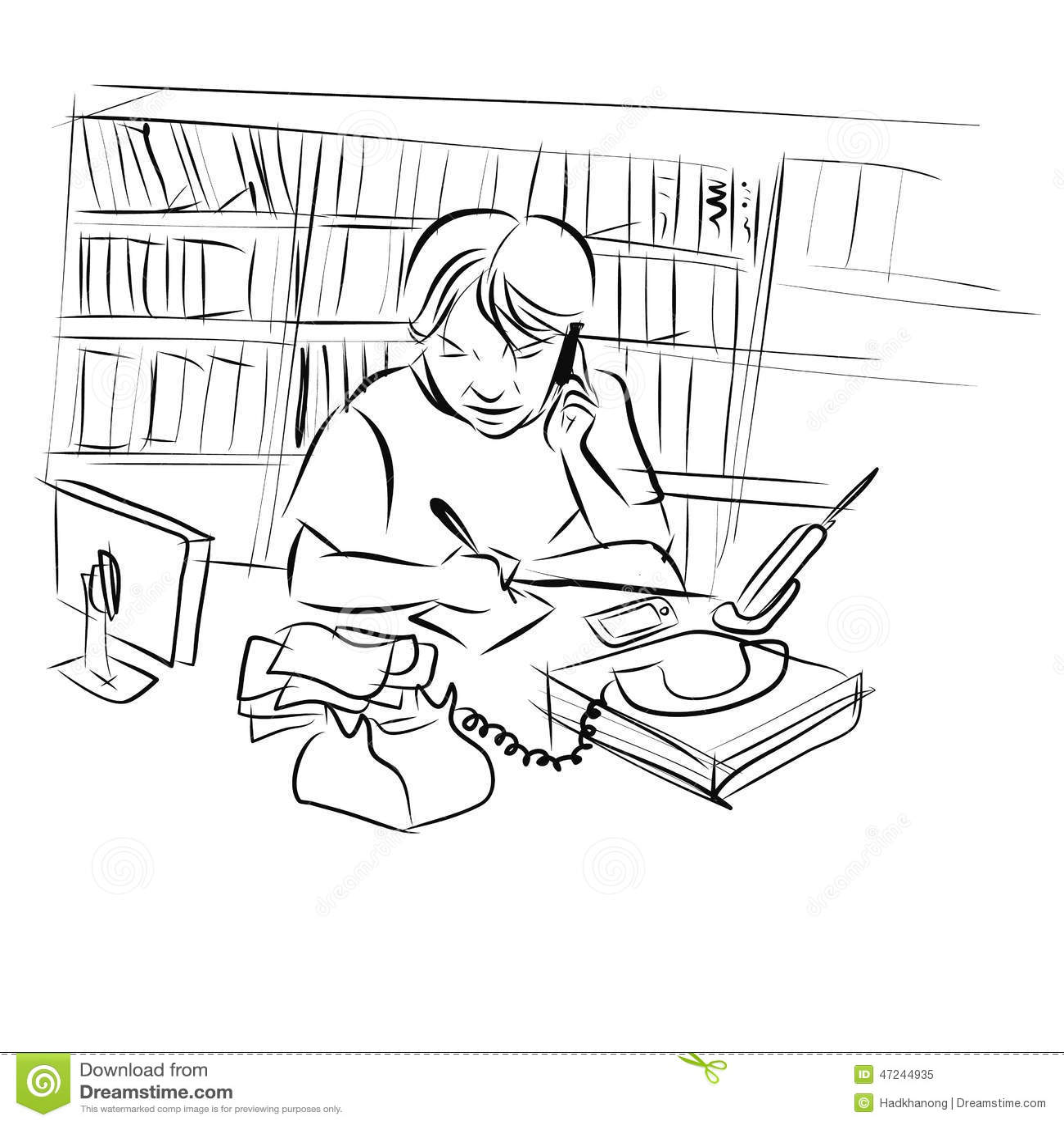 dessin de l 39 homme travaillant son bureau illustration de vecteur image 47244935. Black Bedroom Furniture Sets. Home Design Ideas