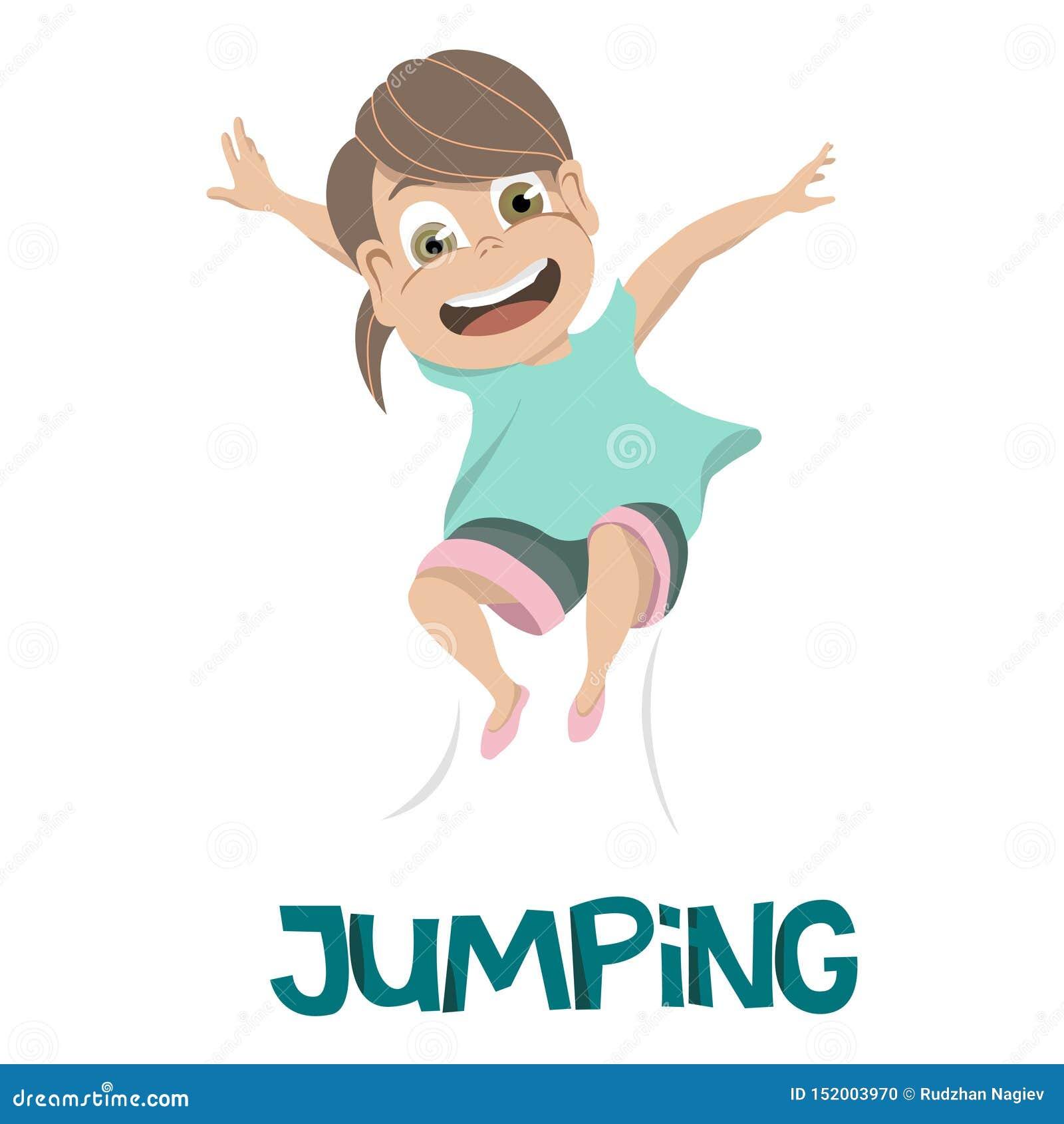 Dessin de la jeune fille de sourire dans la chemise bleu-clair sautant dans l air SAUTER en texte bleu-foncé