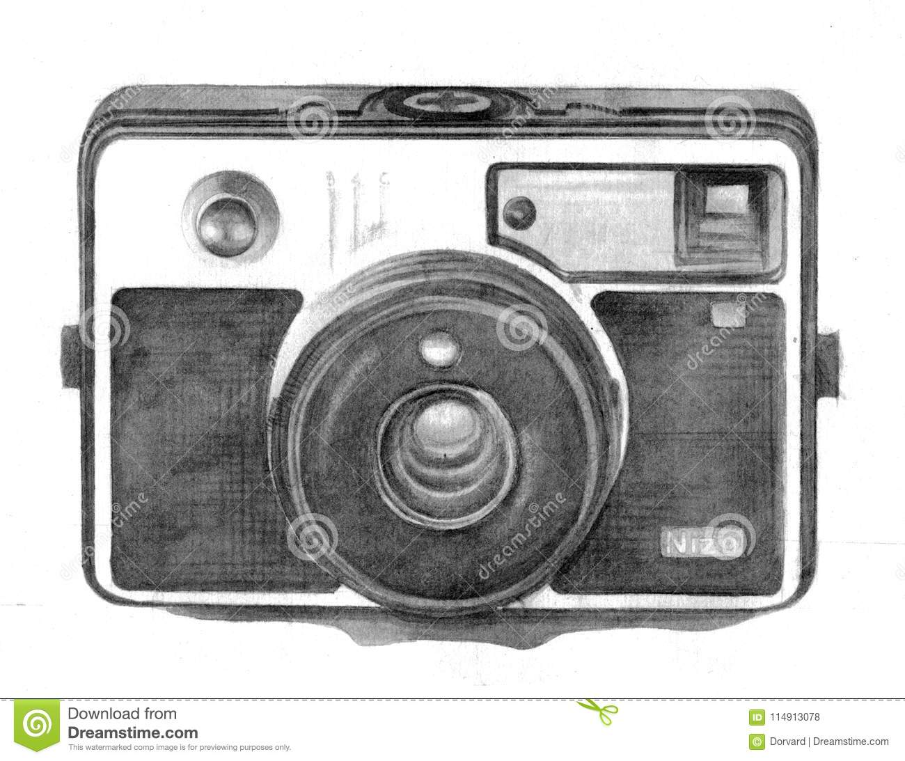 Dessin De Main D Appareil Photo De Vintage Illustration Stock