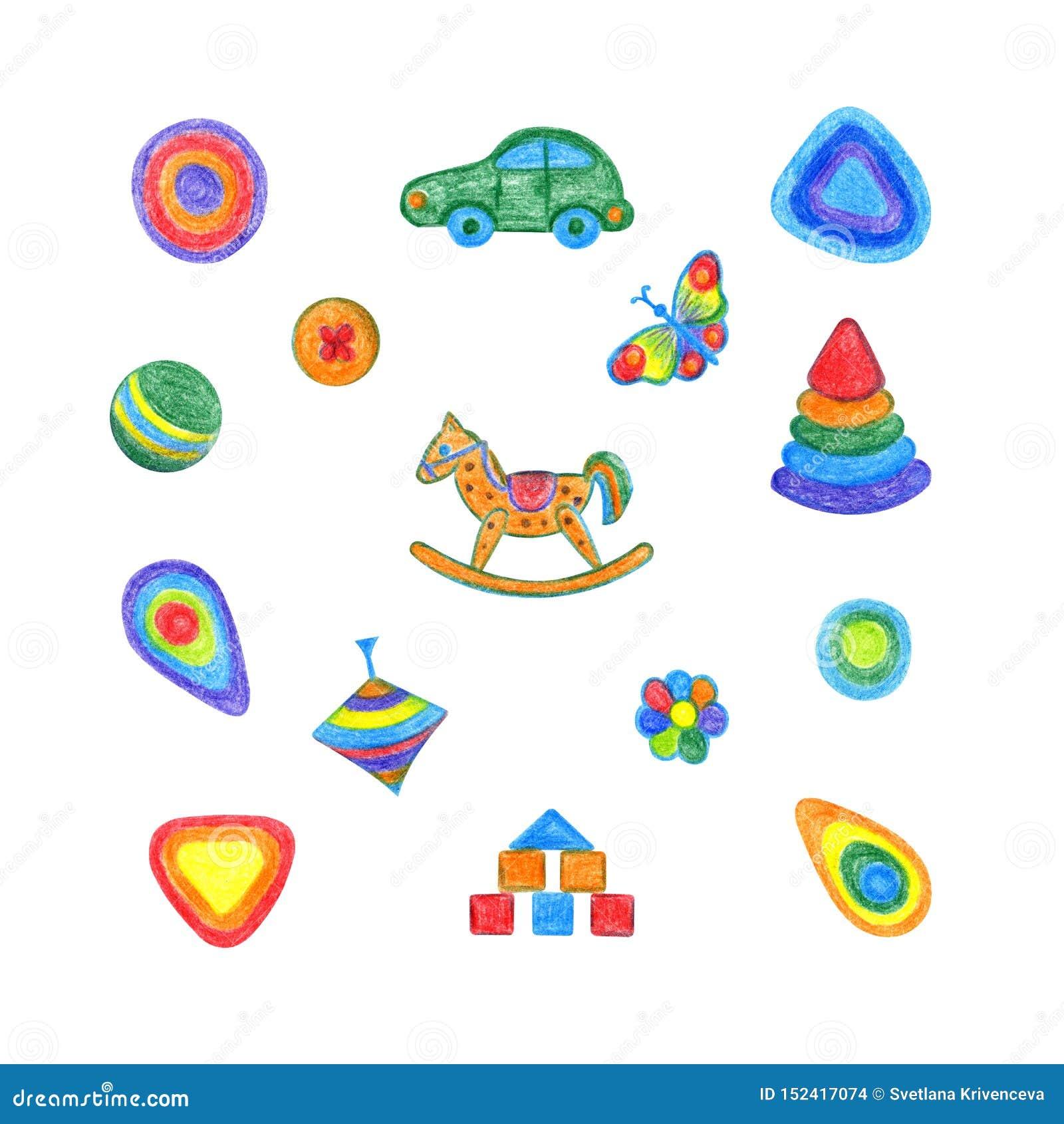 Dessin de main d ensemble de jouets pour enfants