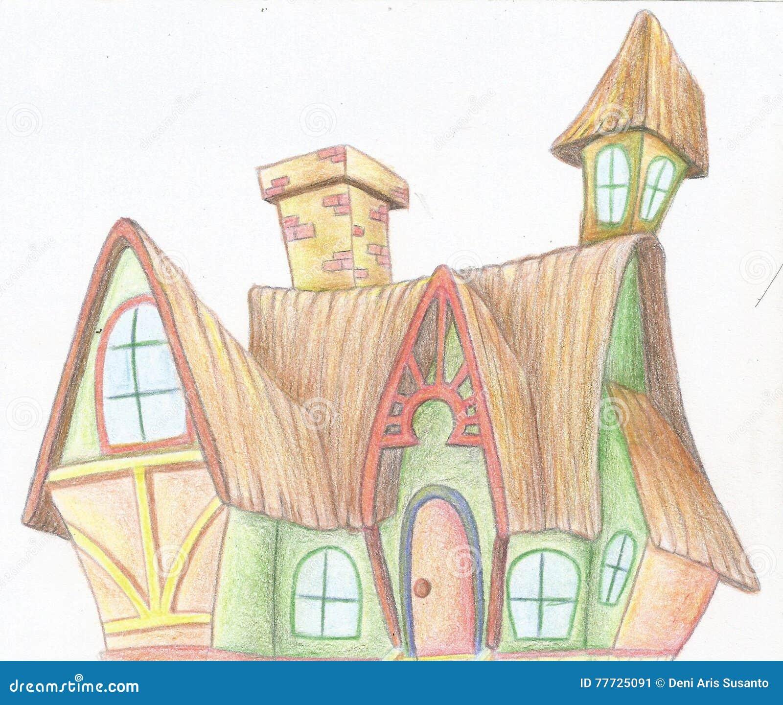 Dessin de main d une maison de sorcière