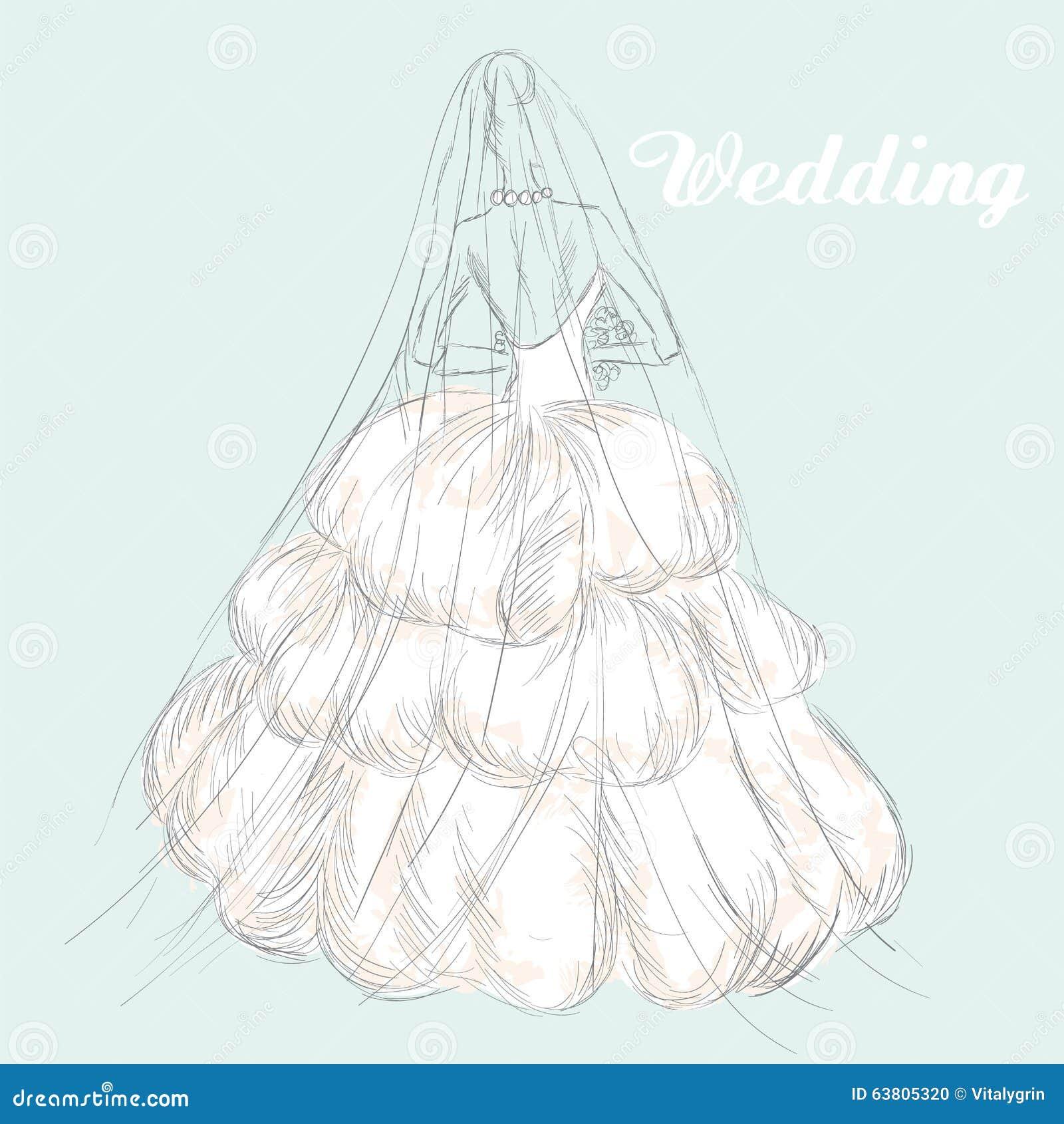 Dessin de main d 39 une robe de mariage la fille dans une robe de mariage cru illustration de - Dessin de la main ...
