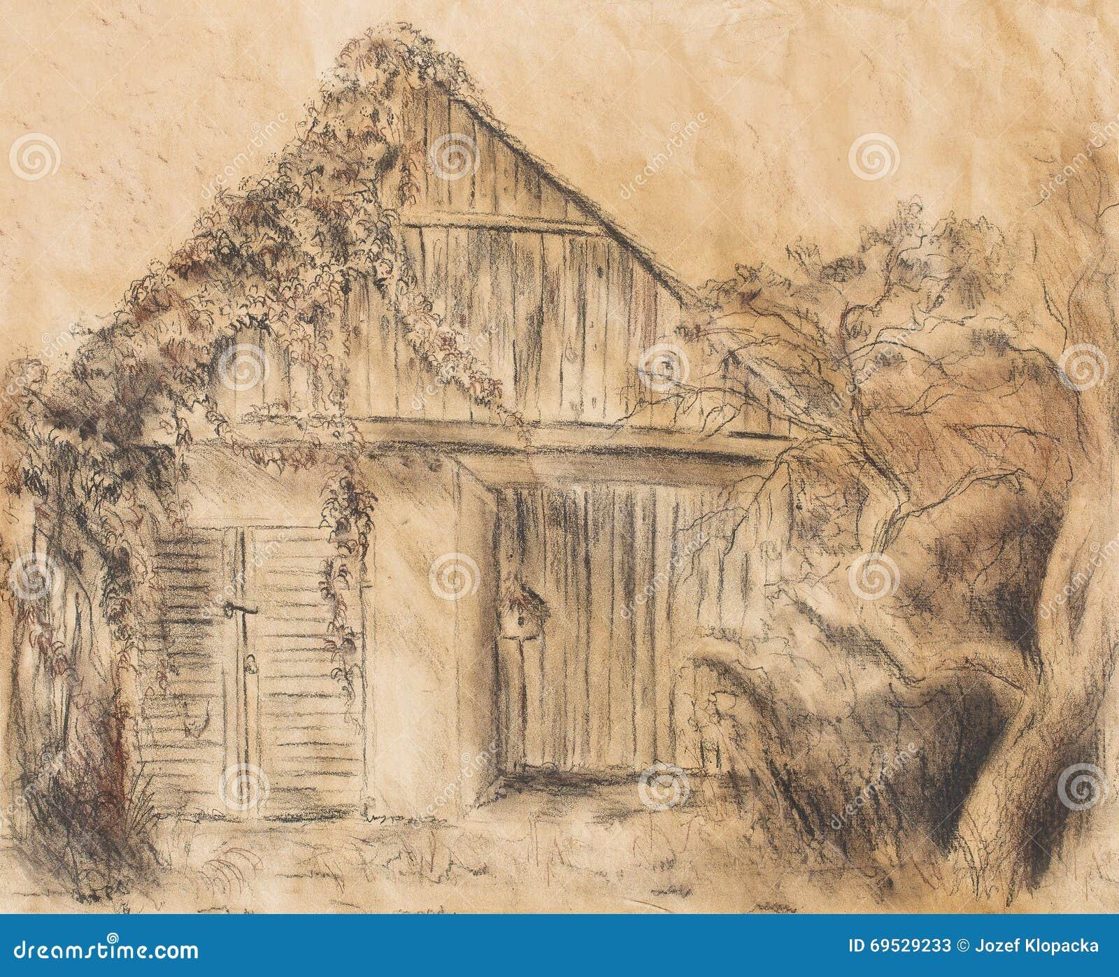 Dessin de main de cottage et vigne sauvage Draving sur le vieux papier