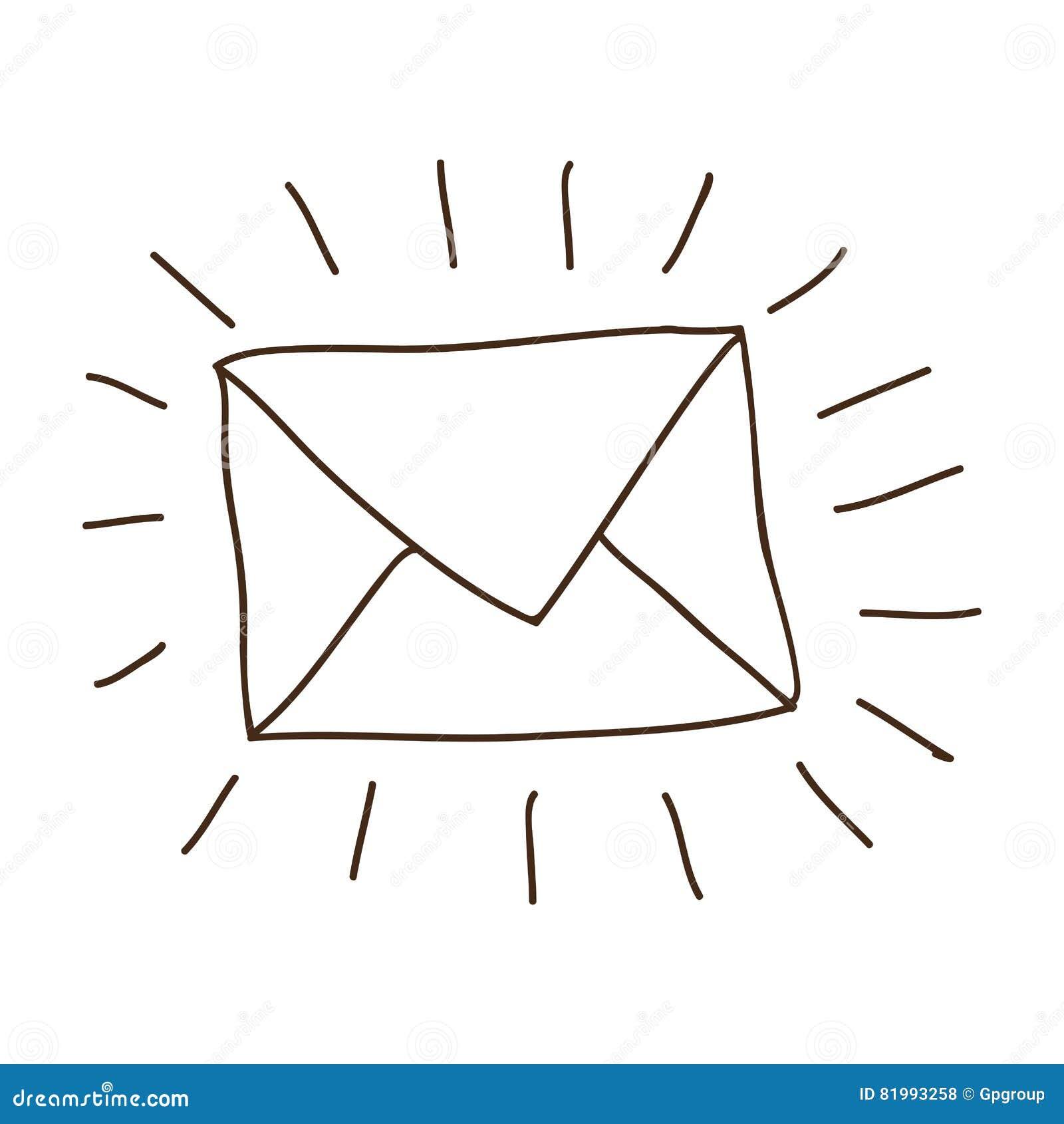 Dessin D Enveloppe dessin de main de courrier d'enveloppe de découpe illustration stock