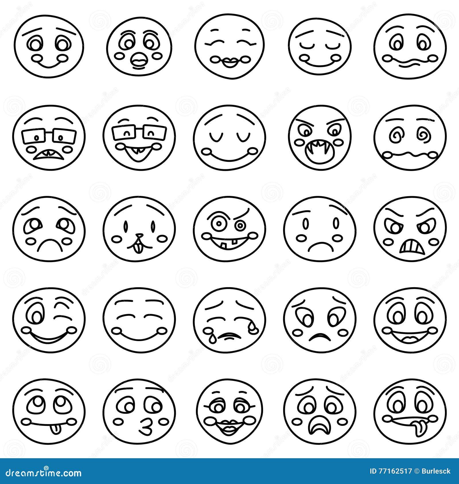 Dessin de main des émoticônes ou des visages émotifs de griffonnage de vecteur