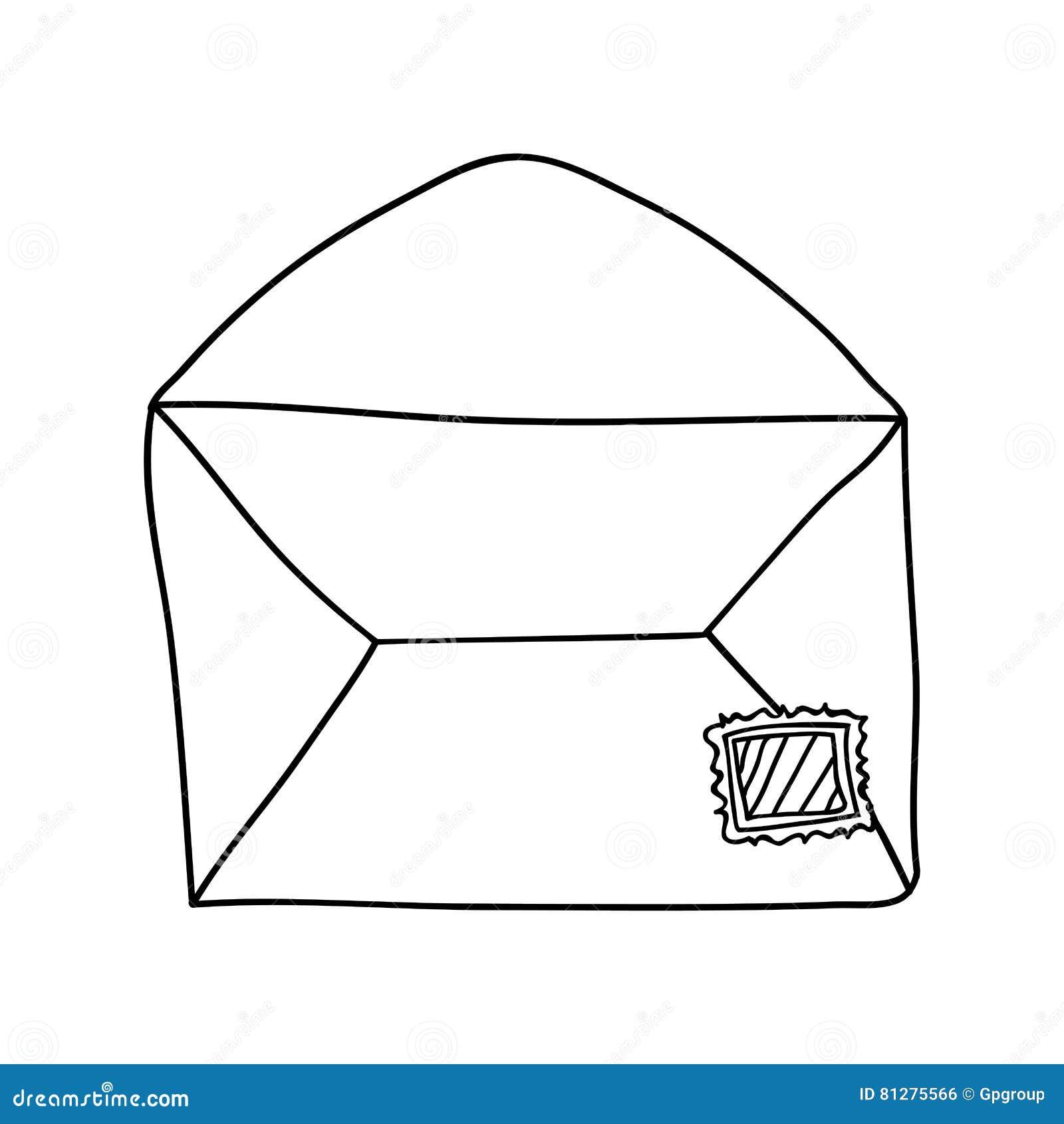 Dessin D Enveloppe dessin de main du courrier d'enveloppe de découpe ouvert