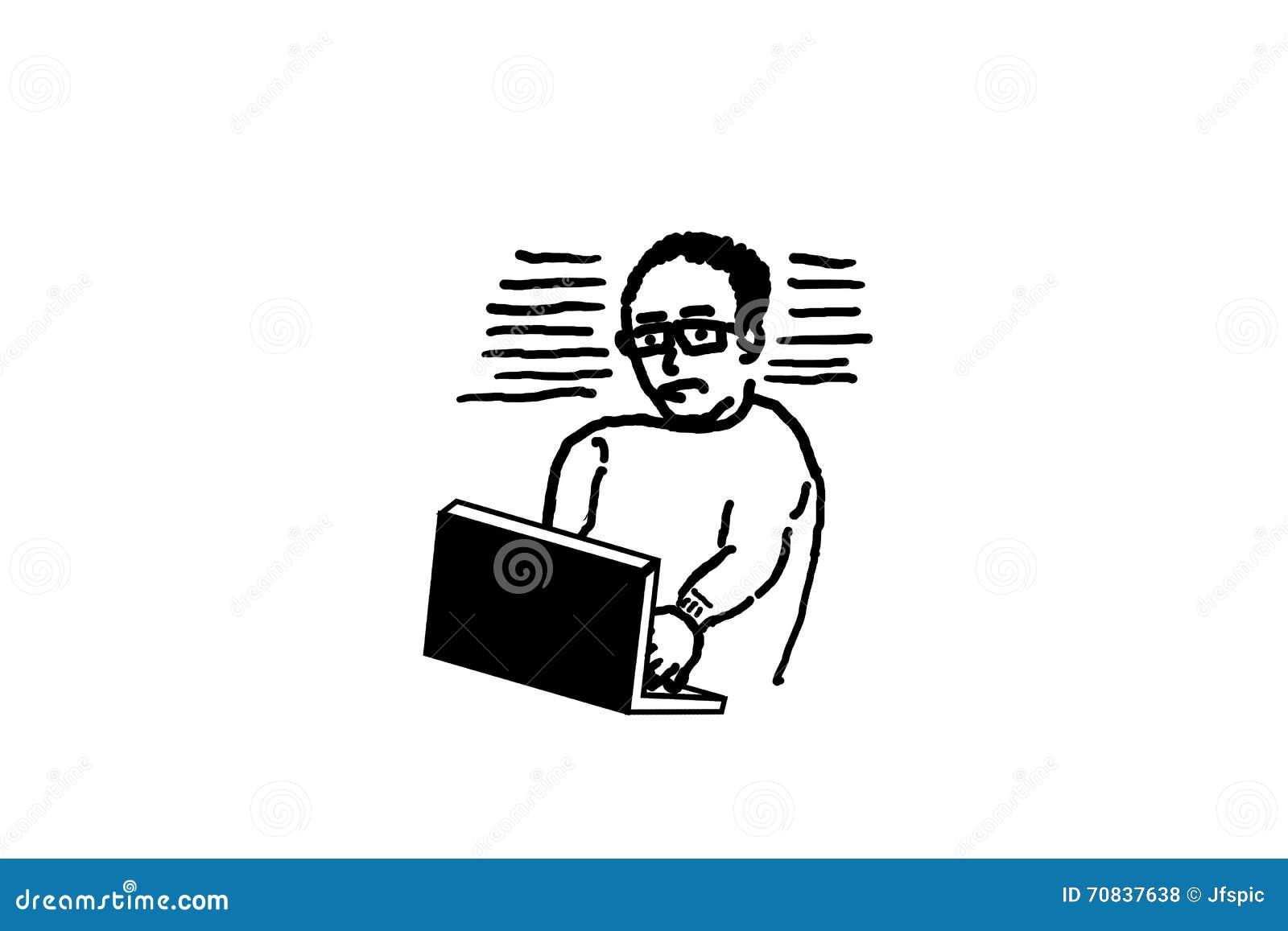 Dessin De Main Homme A L Aide De L Ordinateur Portable Illustration