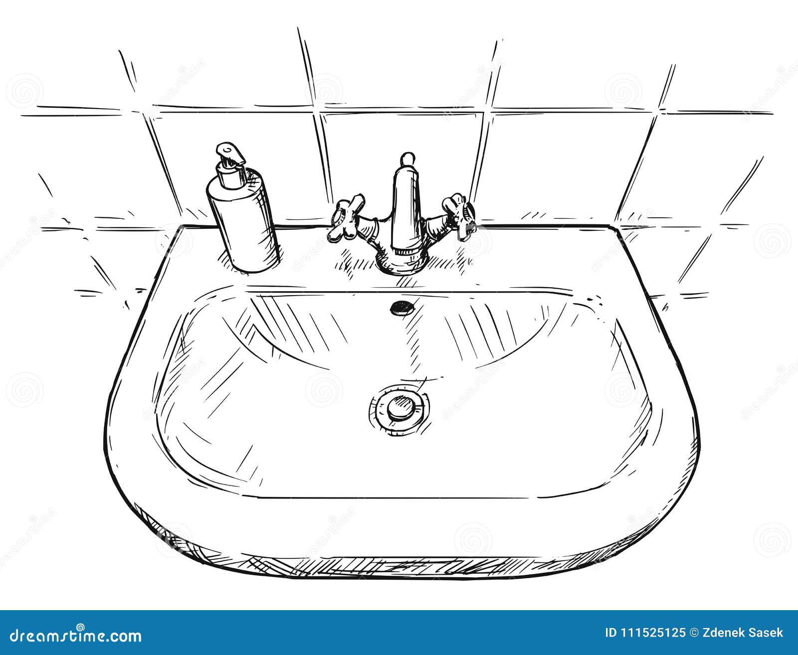 Dessin Salle De Bain dessin de main de vecteur d'évier dans la salle de bains