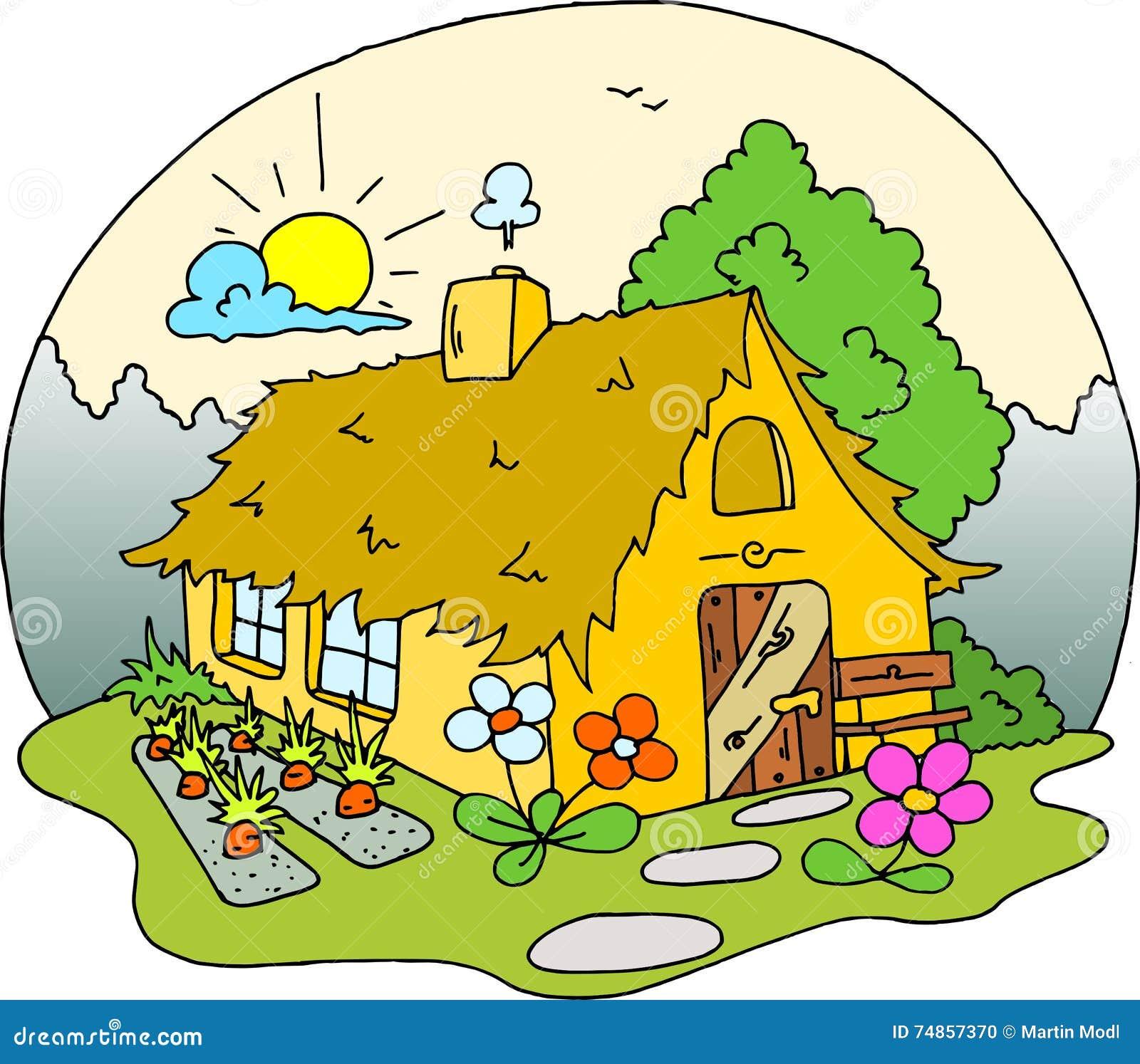Dessin De Maison De Cottage Colore Illustration Stock