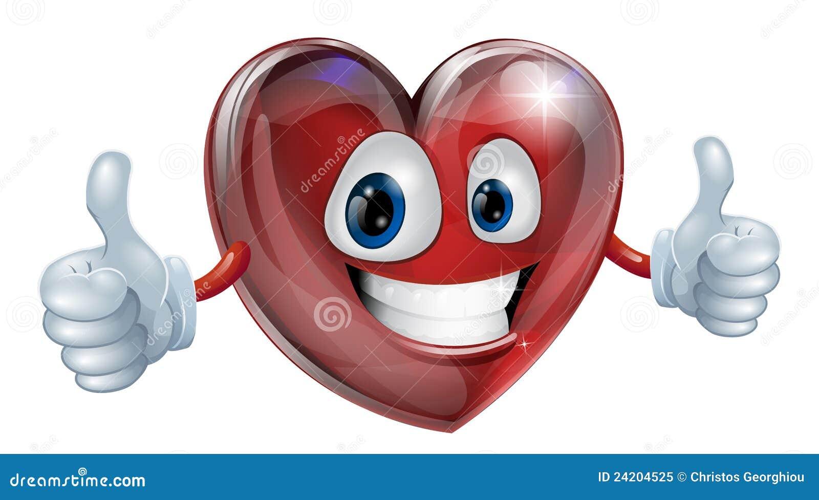 Dessin de mascotte de coeur illustration de vecteur - Dessin avec emoticone ...