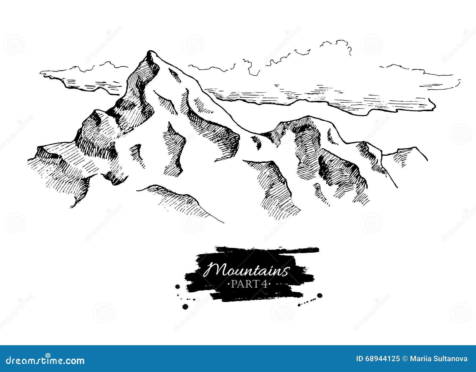 Dessin de montagnes de vecteur illustrations tir es par la main de montagnes illustration de - Dessin de montagne ...
