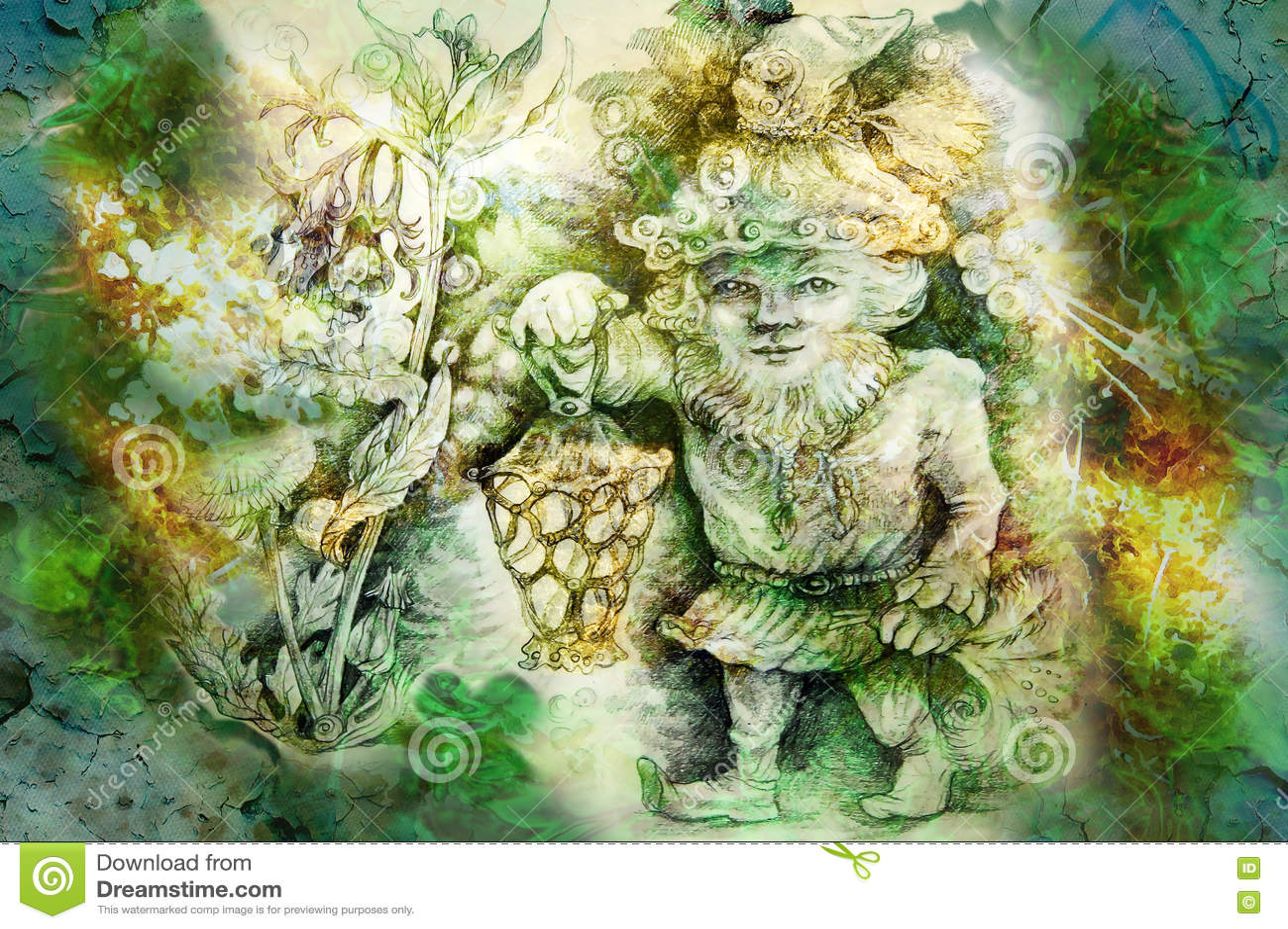 Dessin de nain de jardin avec la lanterne et les herbes for Achat nain de jardin