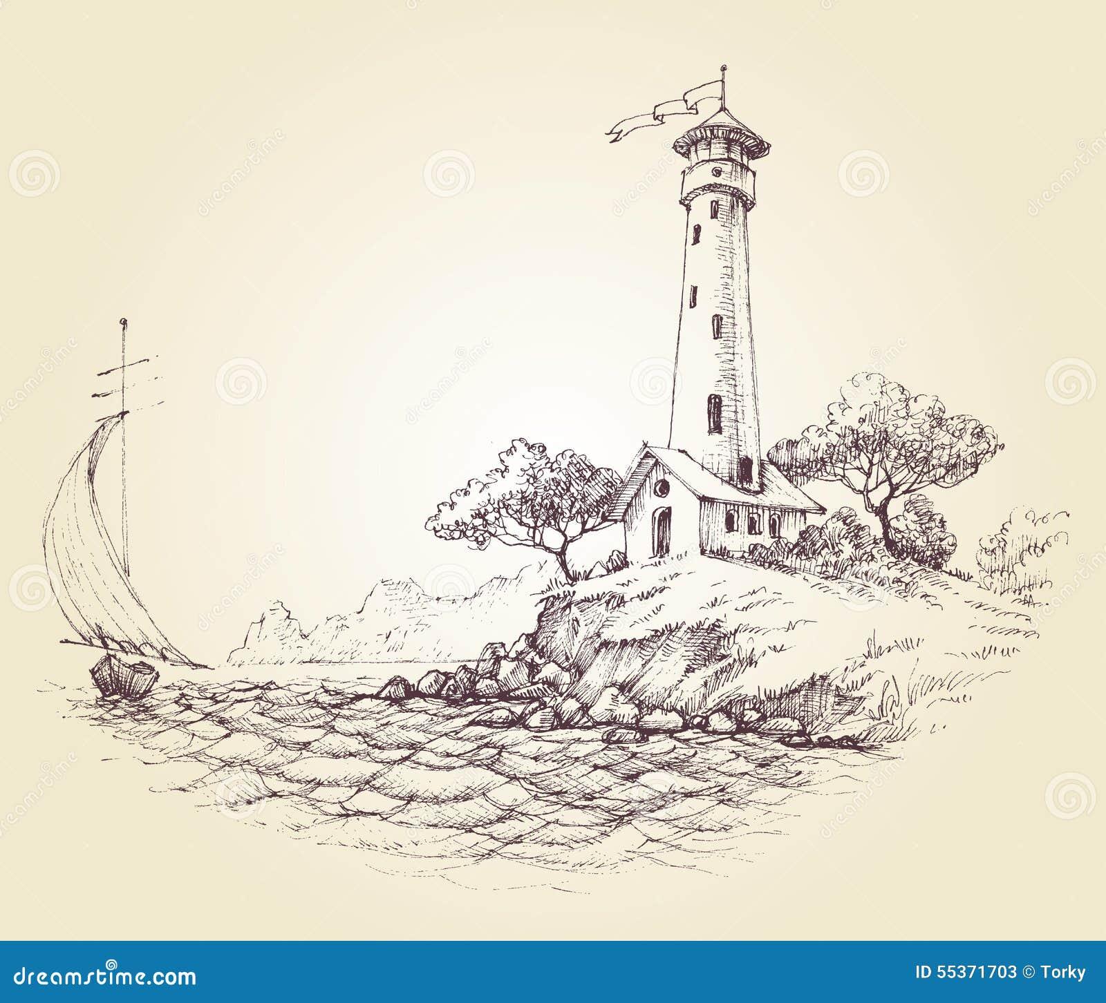 Dessin de phare illustration de vecteur illustration du - Dessin de phare ...