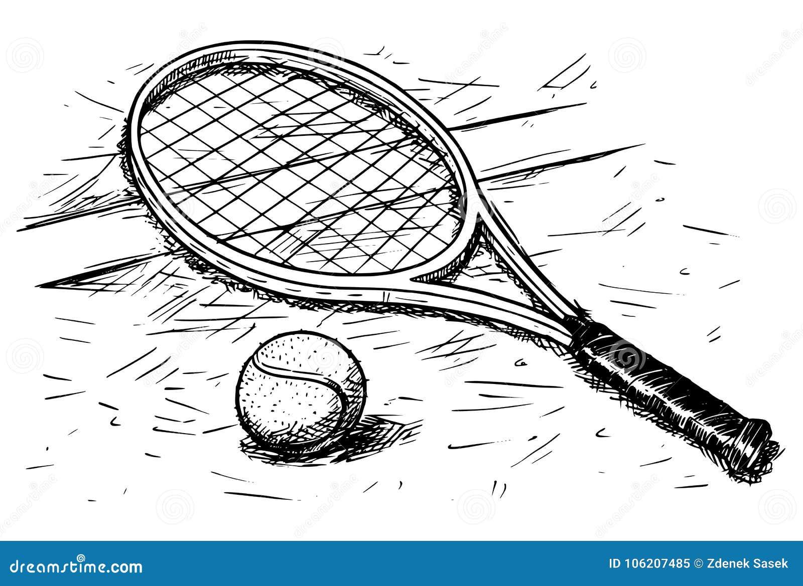 Dessin de raquette de tennis et de main de vecteur de - Dessin raquette ...