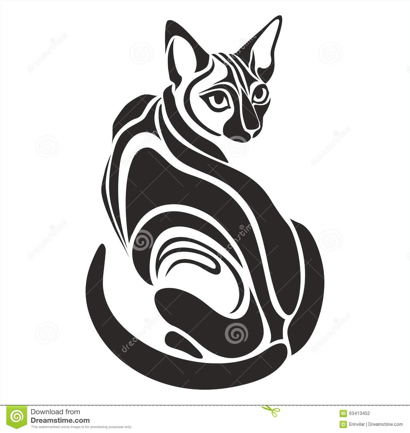 Dessin de regard dangereux gyptien de tatouage de chat - Dessin chat noir ...
