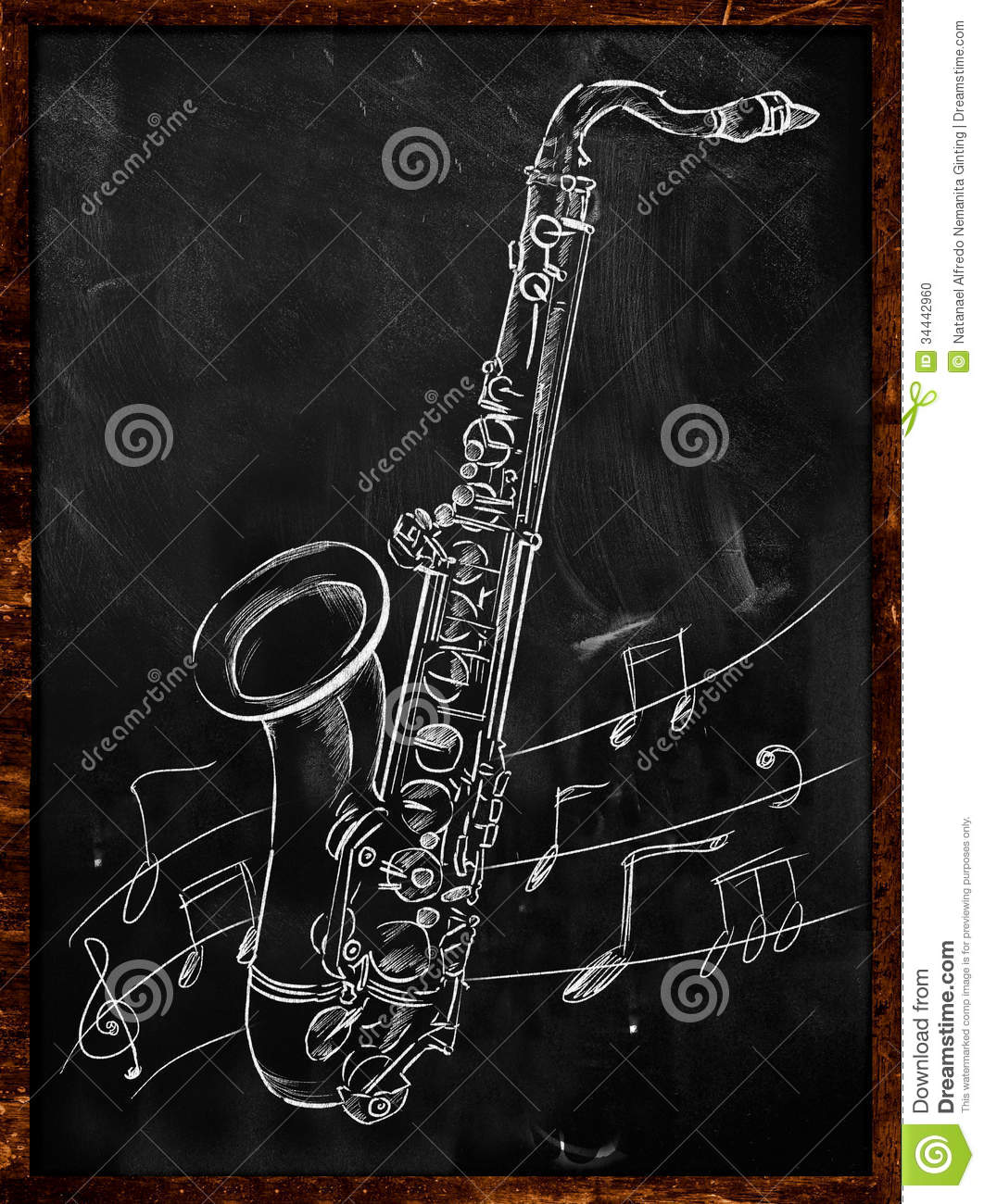 dessin de saxophone esquissant sur le tableau noir illustration stock illustration du objet. Black Bedroom Furniture Sets. Home Design Ideas