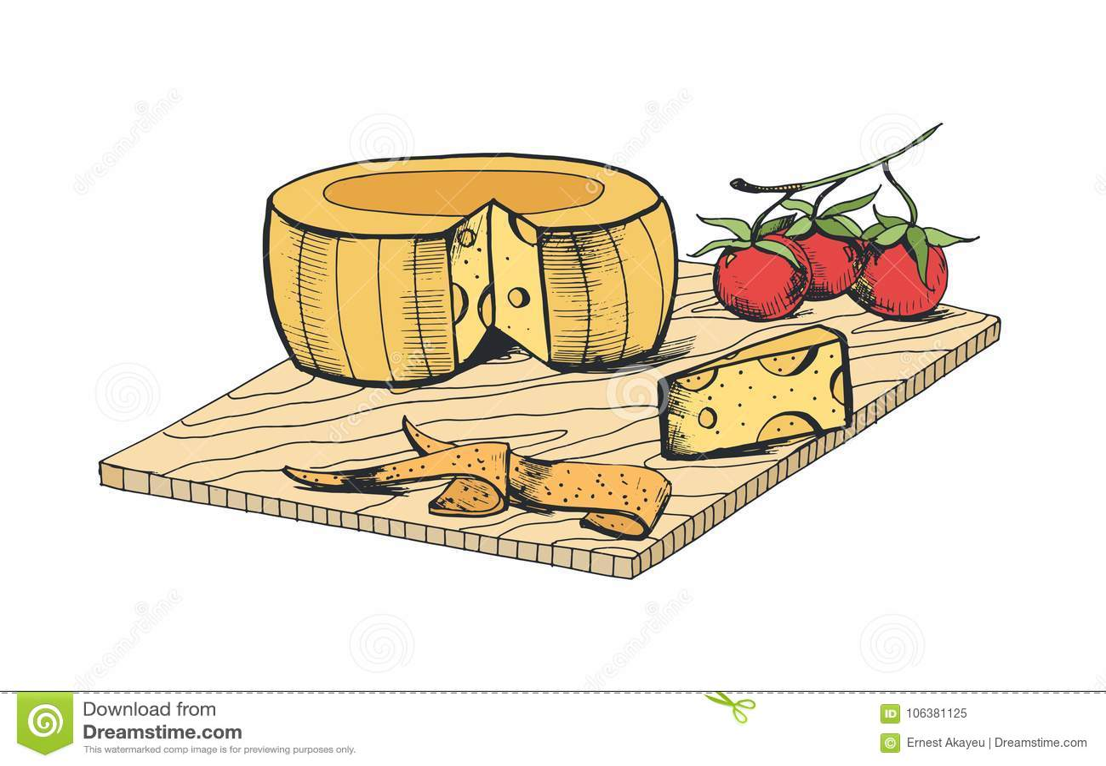 Dessin De Tete De Fromage De Morceau De Tranches Et De Tomates