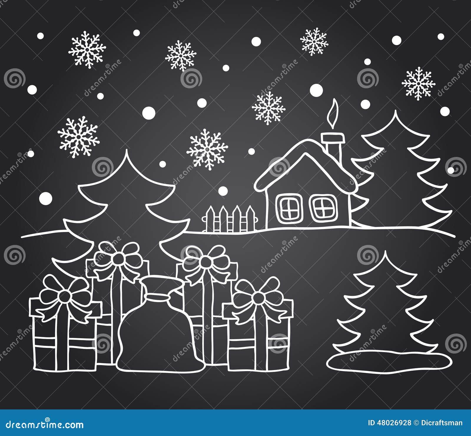 Carte de dessin de tableau de maison dhiver et de cadeaux de noël