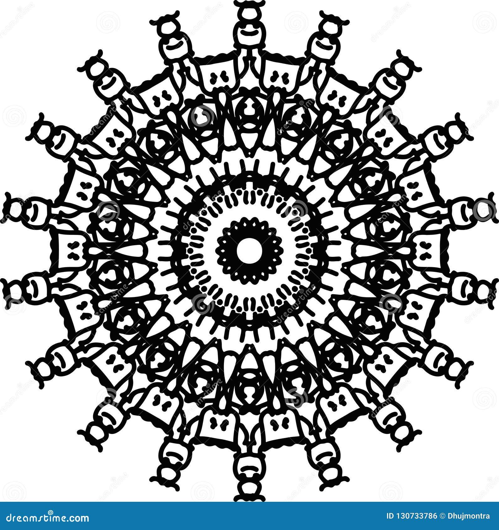 Dessin De Tatouage De Mandala De Roue De Méditation En Noir