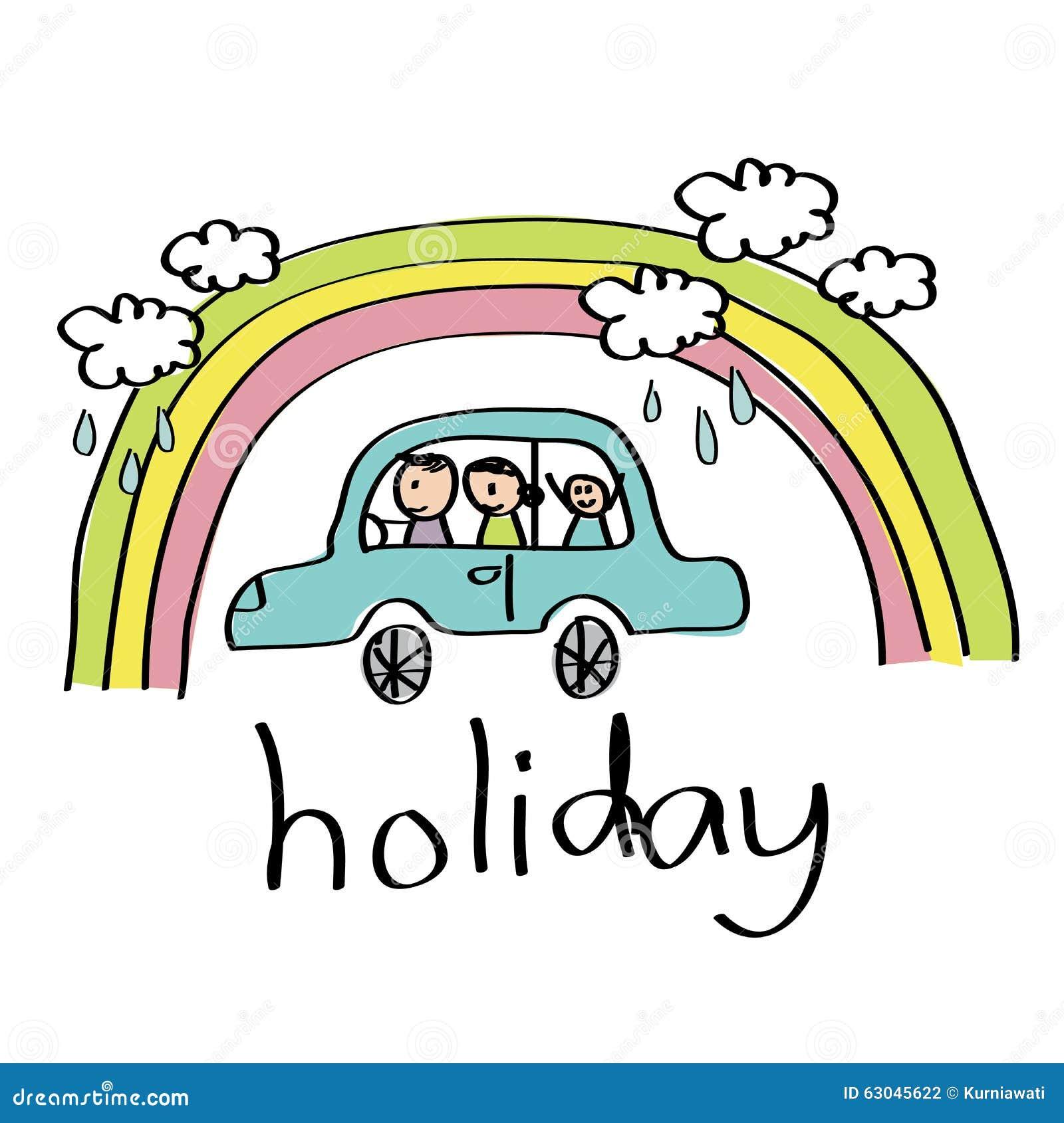 Dessin de vacances de famille illustration de vecteur - Dessin de vacances ...