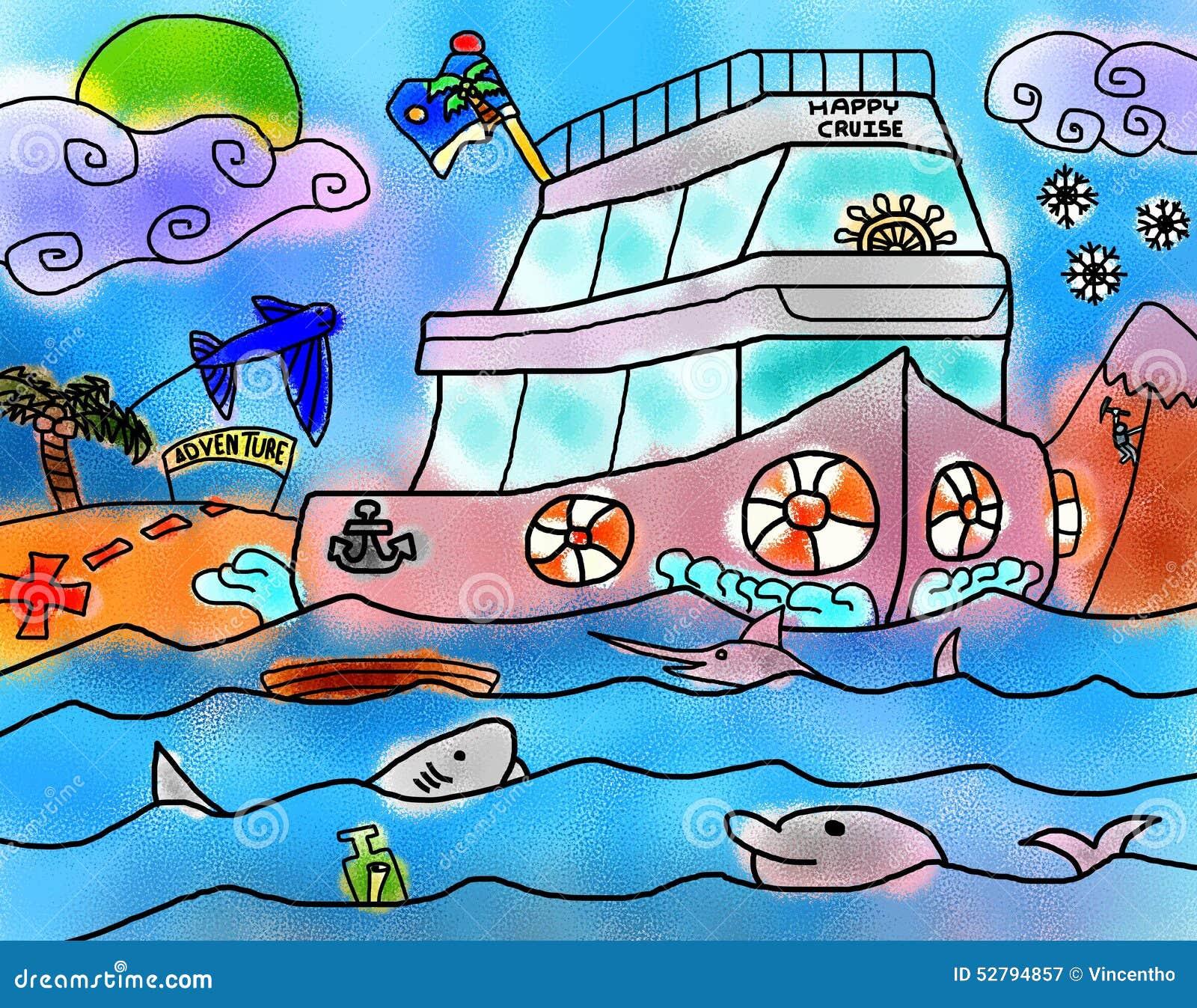 Dessin de vacances de mer d 39 aventure de navigation de - Dessin de vacances ...