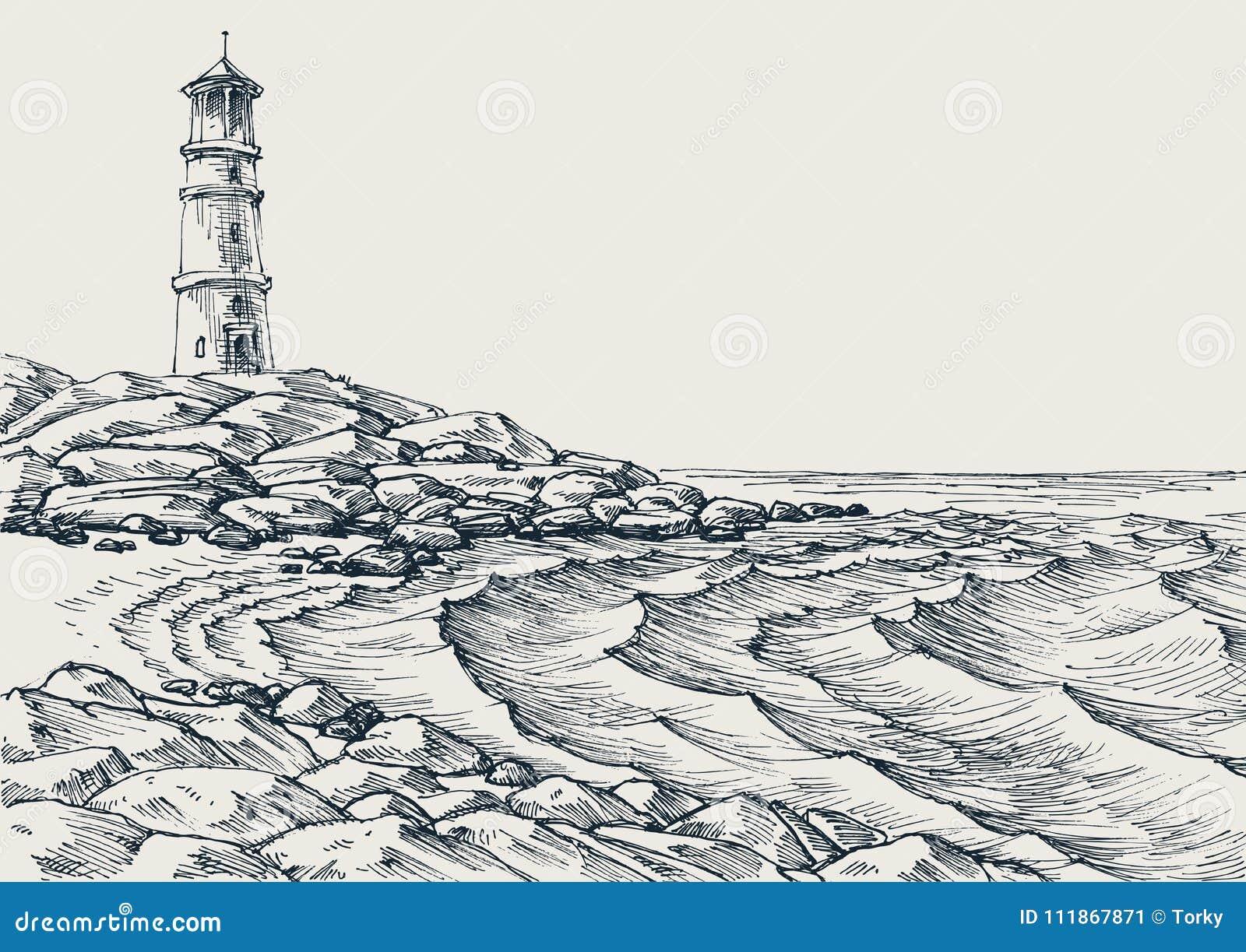 Dessin de vagues de bord de mer et de mer illustration de - Dessin bord de mer ...