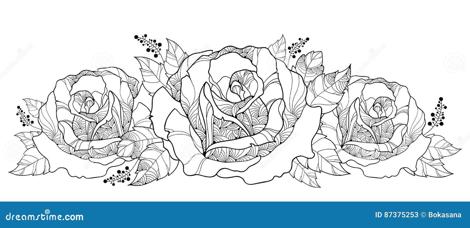 Dessin De Vecteur Avec Le Bouquet De La Fleur Rose D Ensemble D