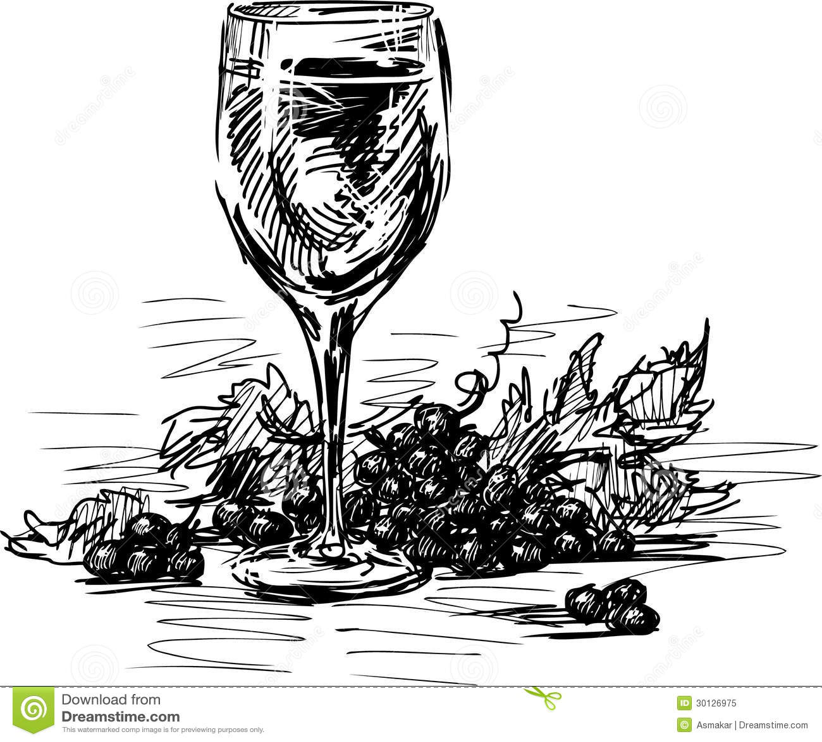 Verre de vin et de raisins photo libre de droits image 30126975 - Verre de vin dessin ...